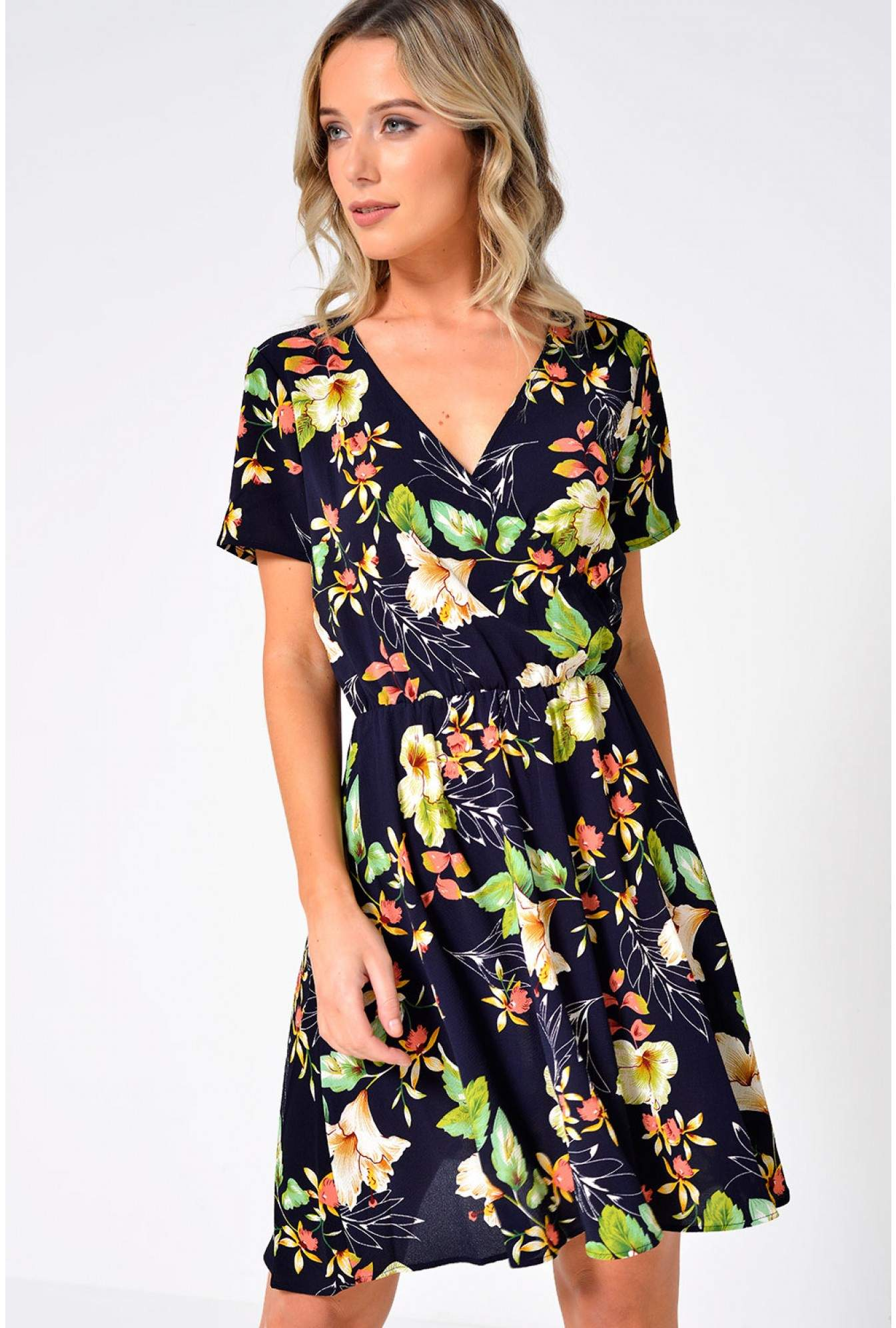 3b588c461ca7 JDY Trick Floral Wrap Dress in Navy | iCLOTHING