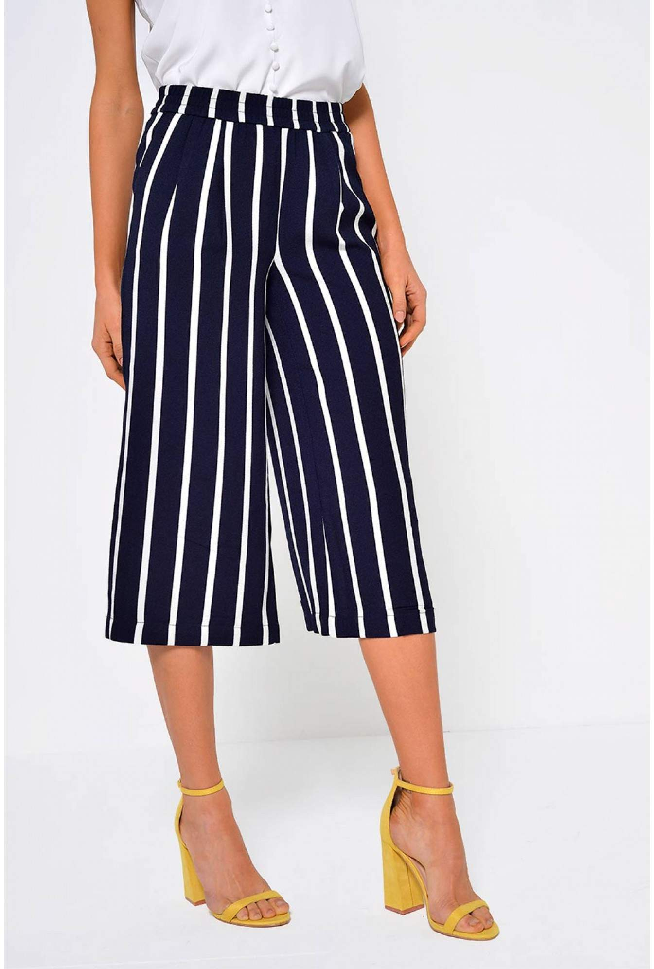 Only Piper Striped Culotte Pants in Navy  117e2b2969a76