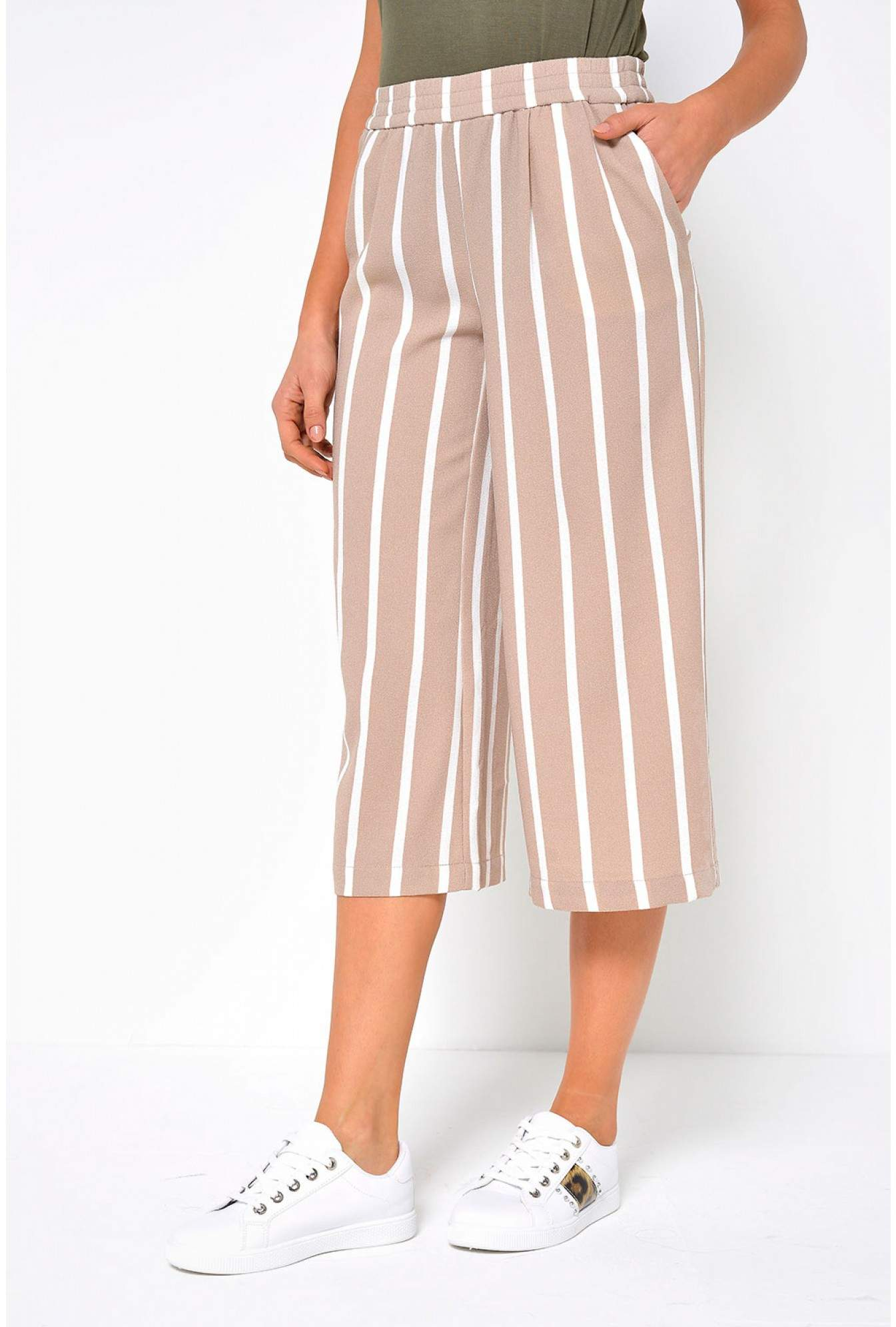 Only Piper Striped Culotte Pants in Stone  a19905518e833