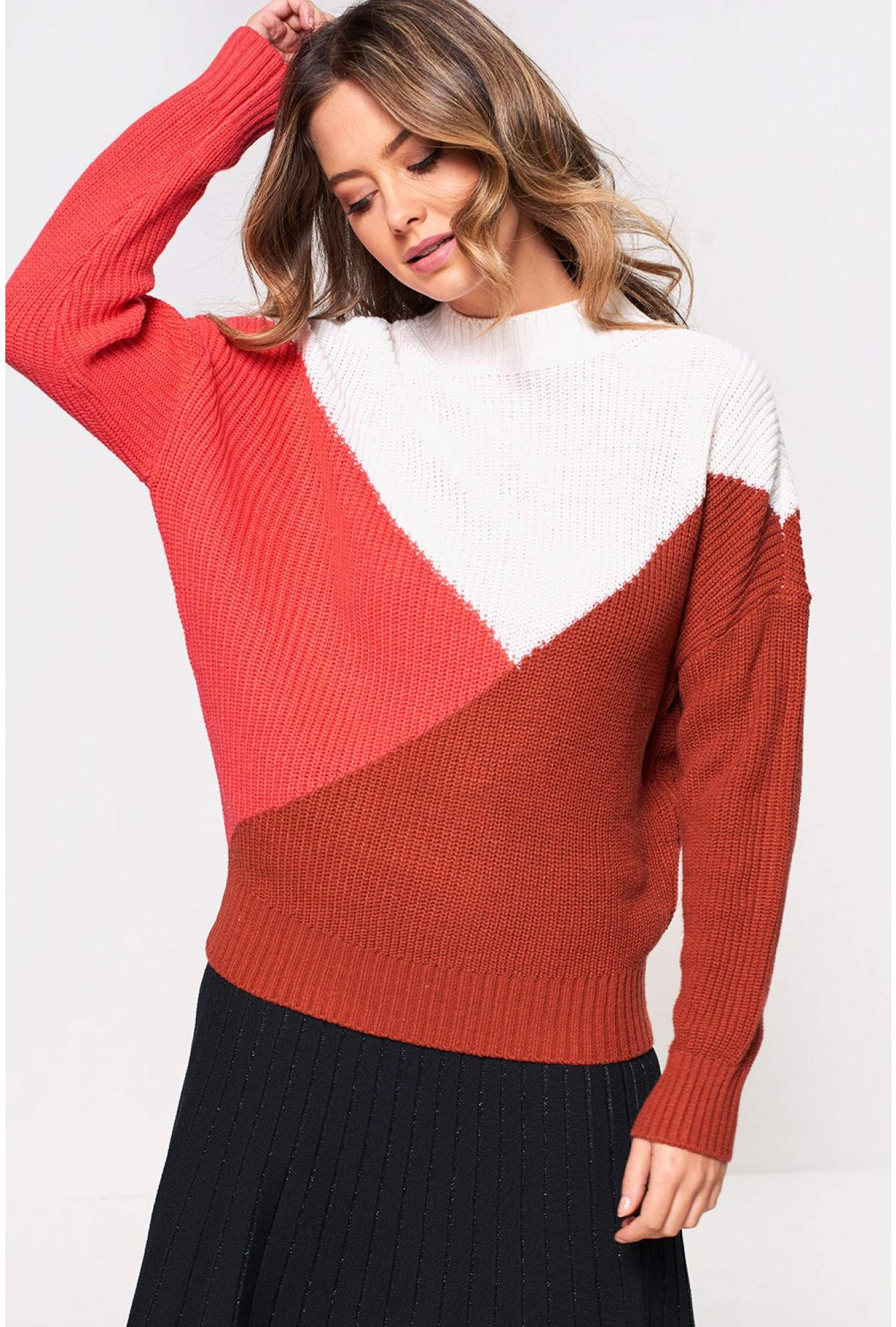 12001611 Only Cube Colour Block Rib Jumper   iCLOTHING