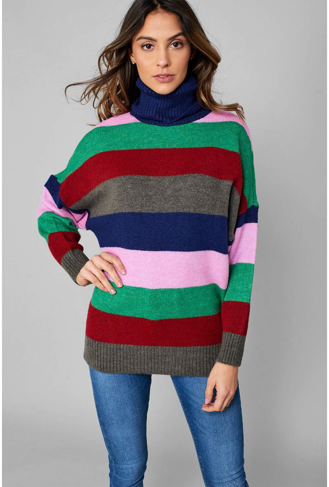 af70c205c4ce2 More Views. Monica Roll Neck Knit Jumper in Rainbow Stripe. Only