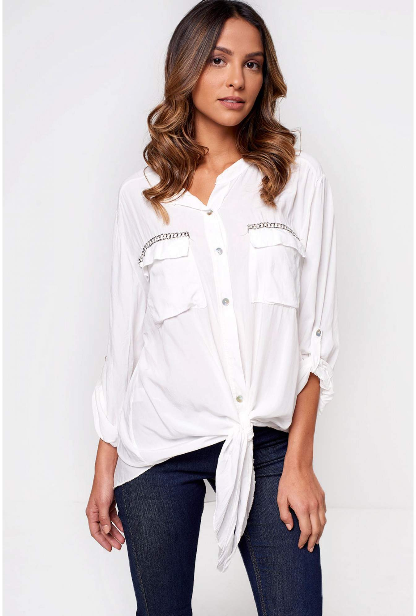 b9c67b48768 Paradiso Carrie Long Sleeve Shirt in White | iCLOTHING