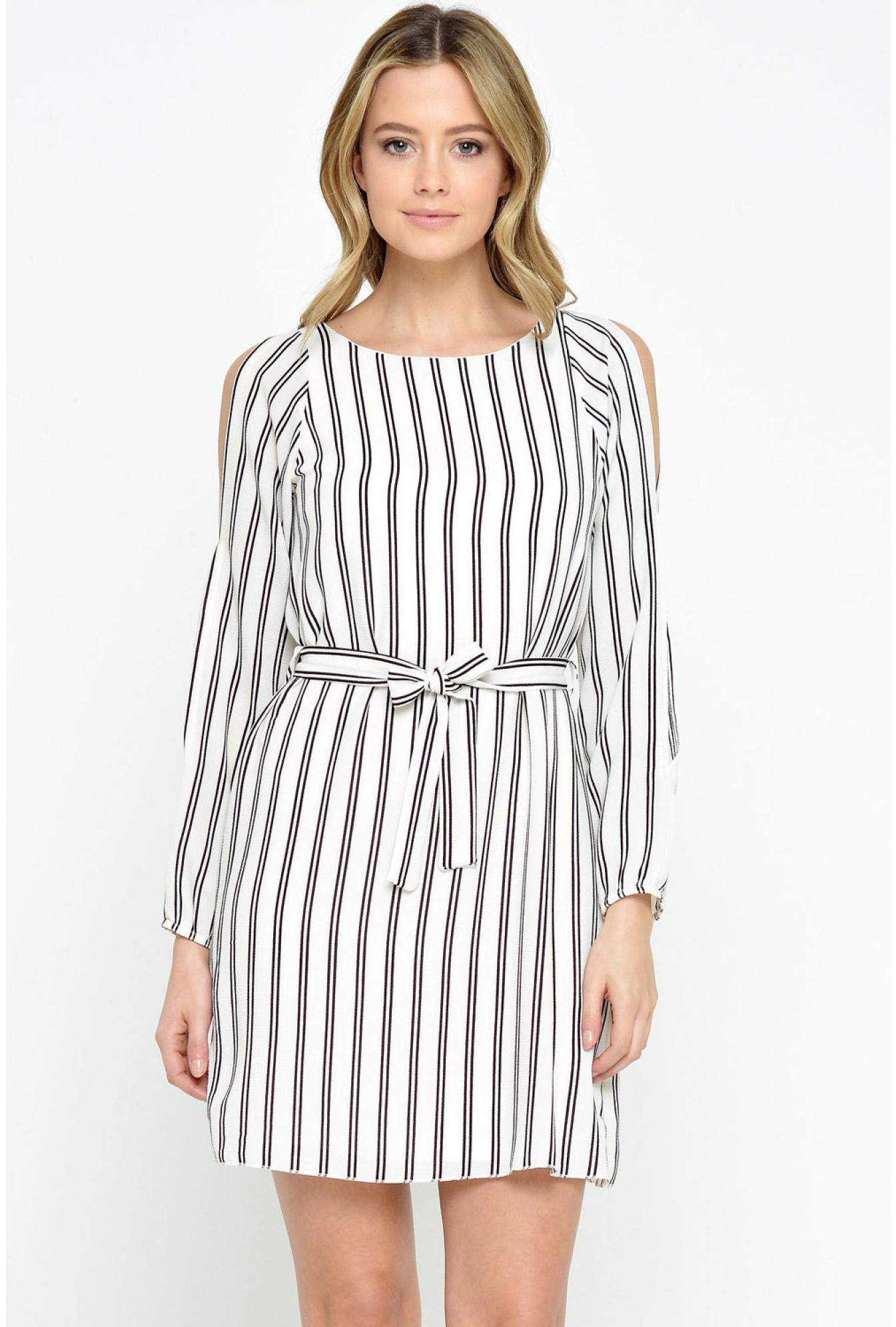 2982f2f9e9 Diva Rosalynn Striped Cold Shoulder Dress in Stripe | iCLOTHING