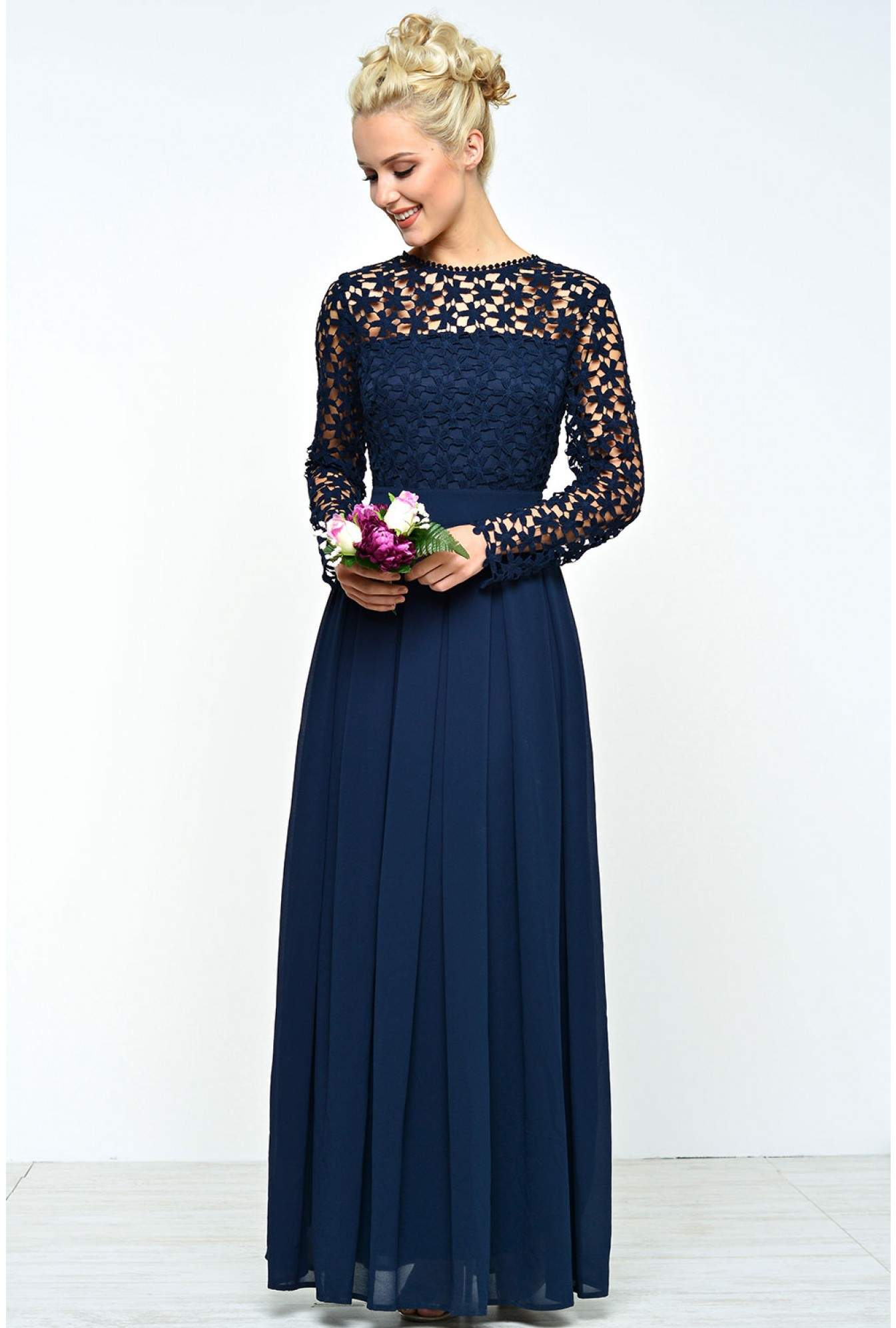 4544711fa466 iCLOTHING Flavia Crochet Top Maxi Dress in Navy | iCLOTHING