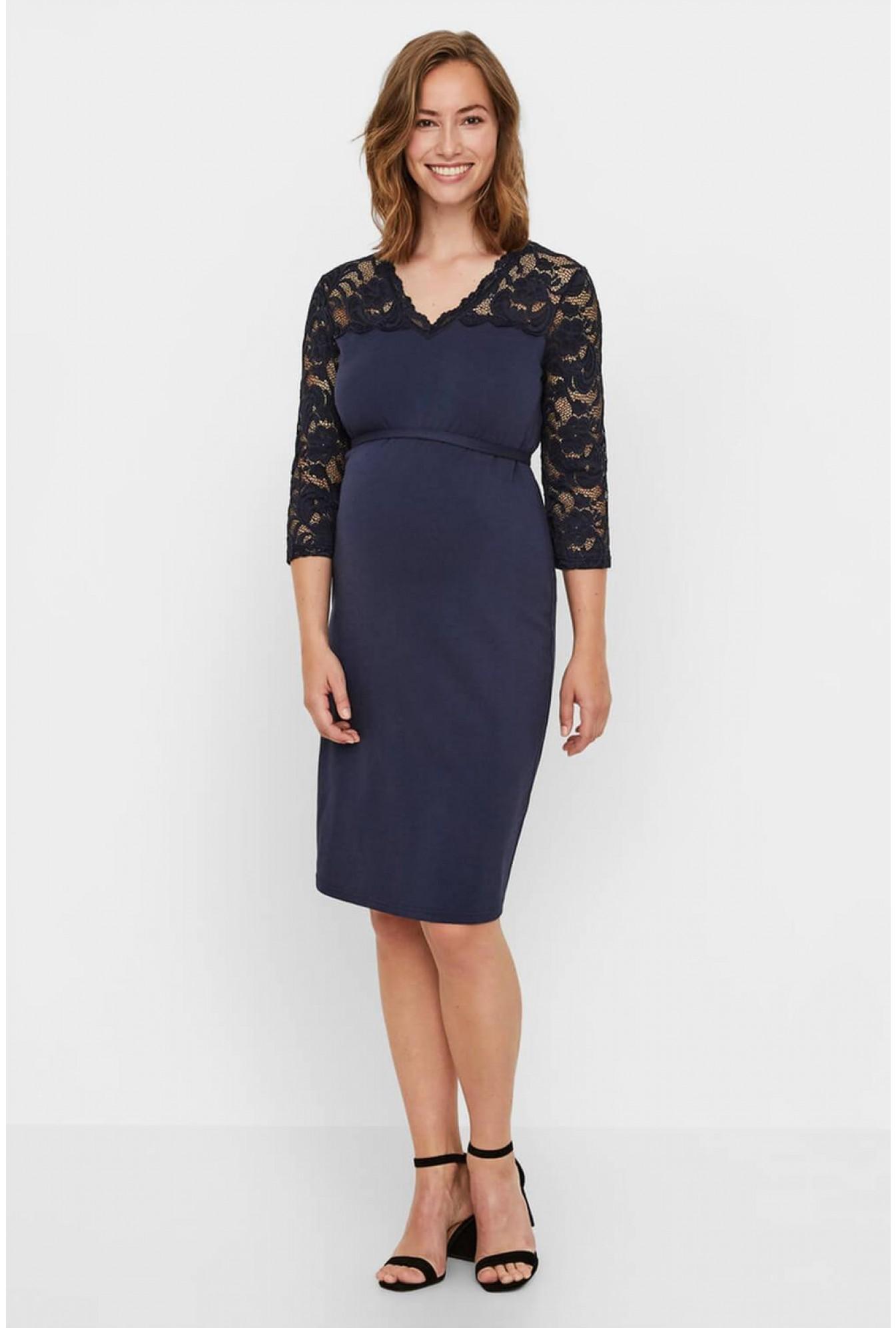 ded3aec92ea Mamalicious Blackie Mivana Maternity Dress in Navy