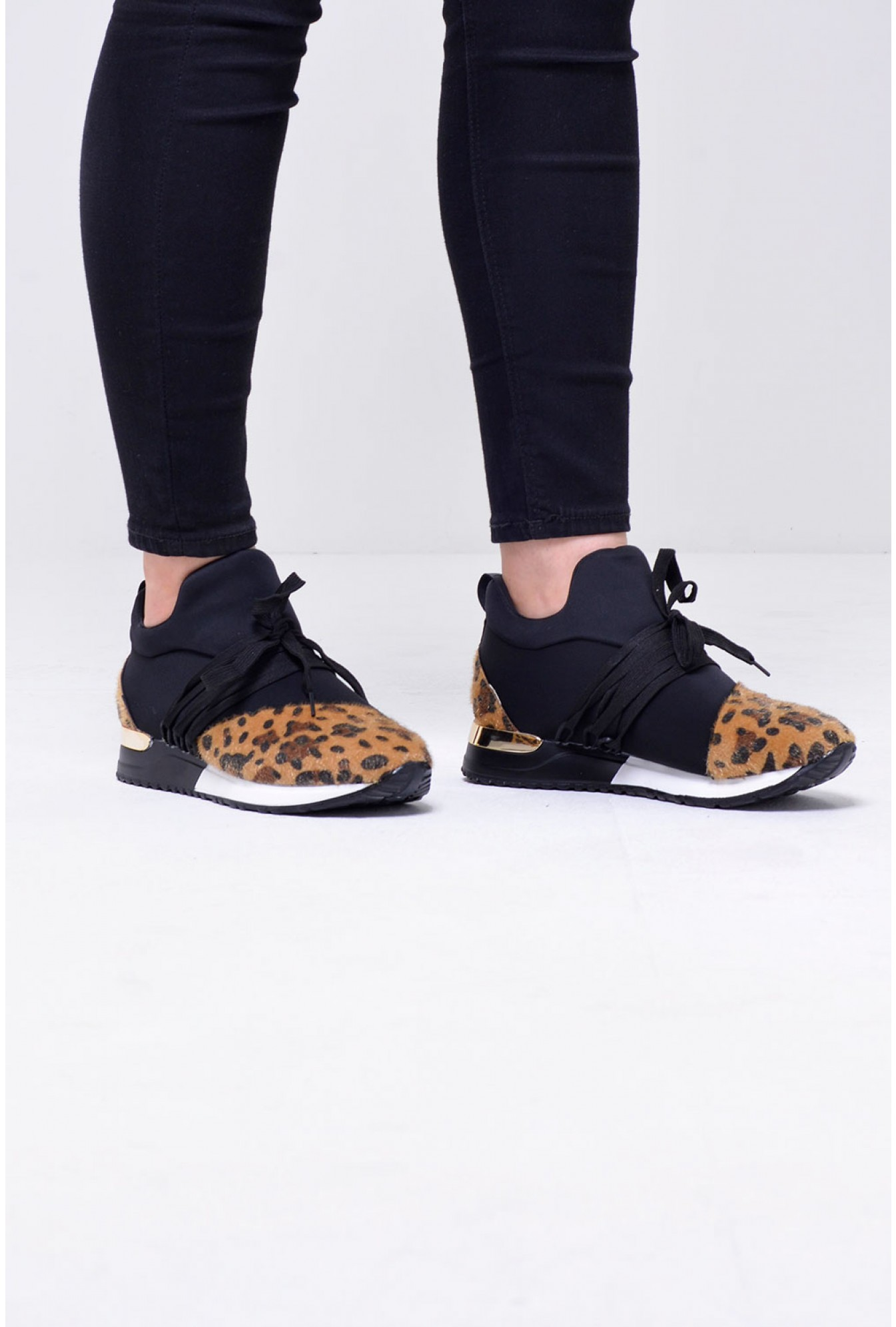 15dea68161ca1 No Doubt Bianca Lace Up Trainers in Black Leopard Print | iCLOTHING