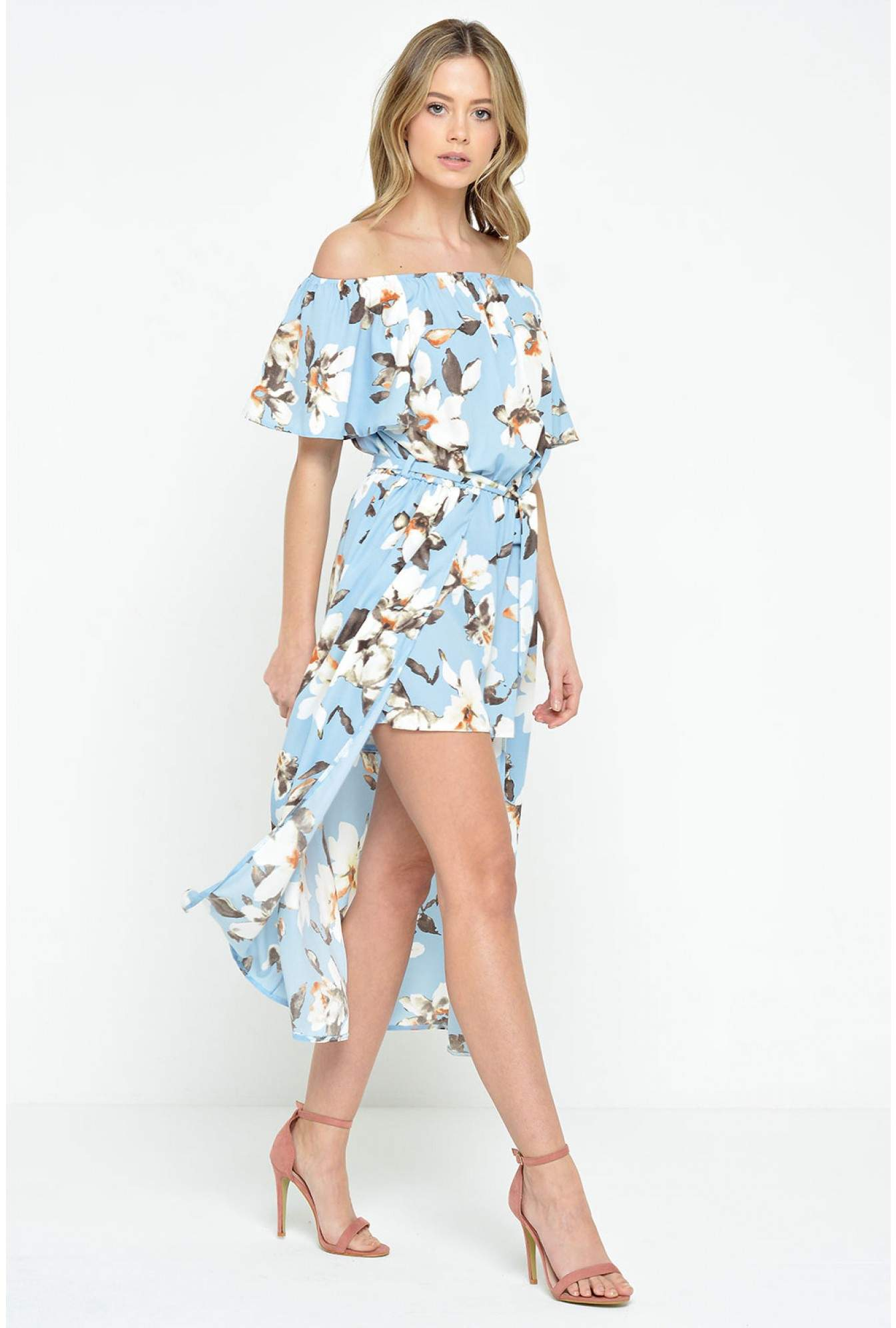 aa86f6b8c72 More Views. Lydia High Low Playsuit in Blue Floral. John Zack