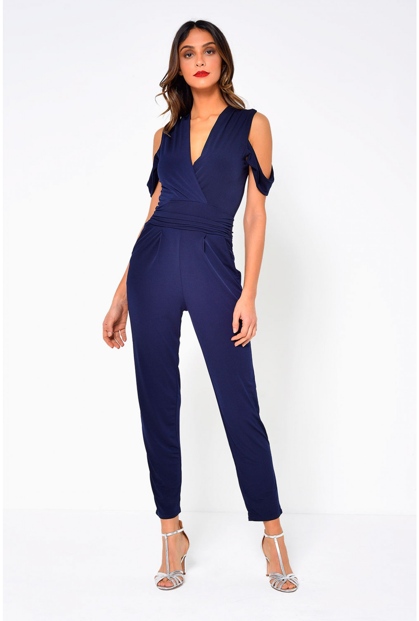 0f00f1301 Celine Cold Shoulder Jumpsuit in Navy
