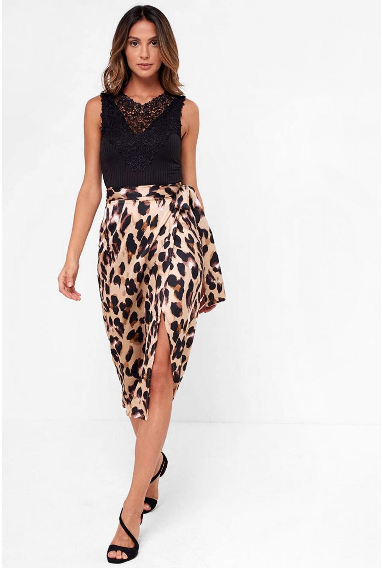 f3e0260b288 John Zack Jaxon Leopard Print Wrap Midi Skirt | iCLOTHING