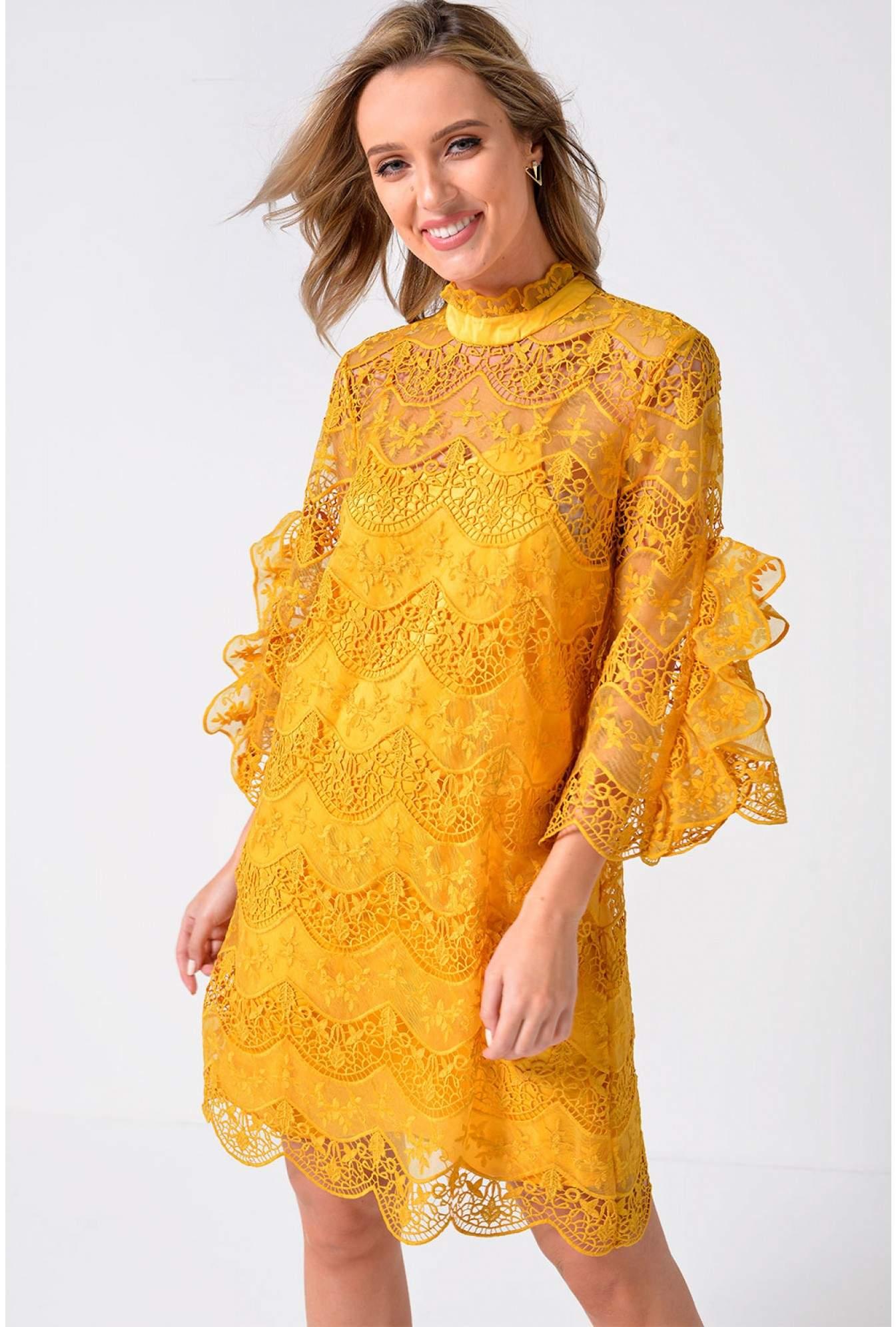 9d36cdfdb08 More Views. Diadora Crochet Dress in Golden Yellow