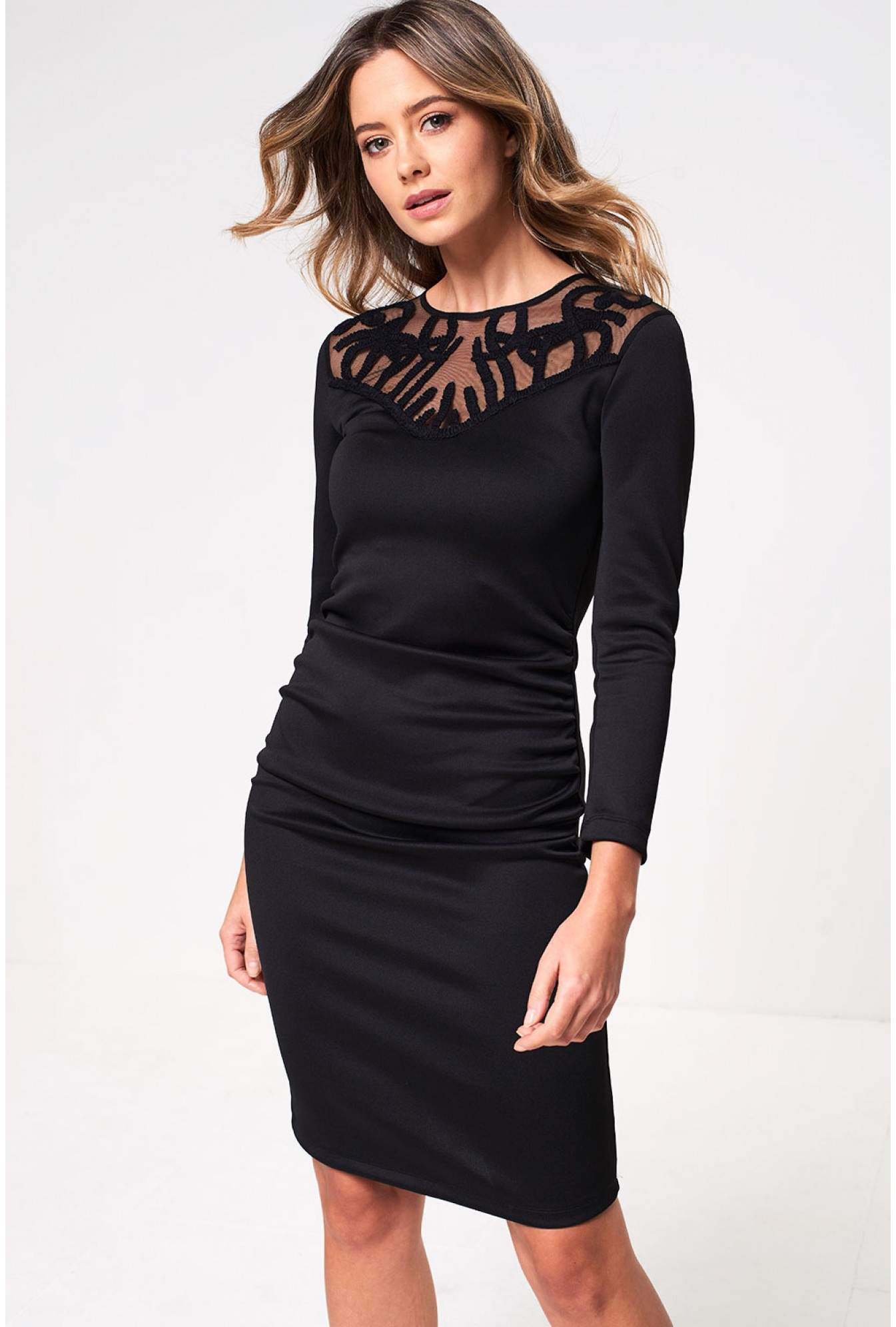 626025cc146 More Views. Miva Long Sleeve Occasion Dress in Black
