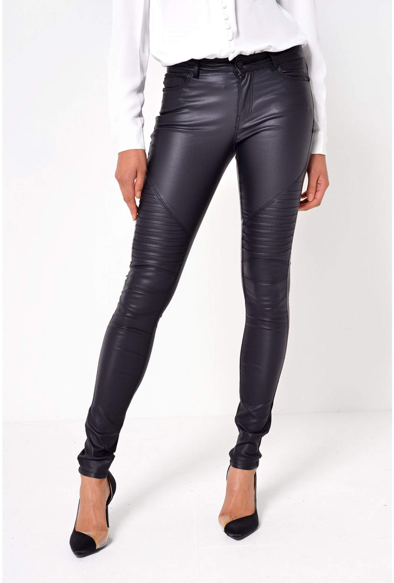 5533463631b42 More Views. Lucy Coated Biker Jeans in Black