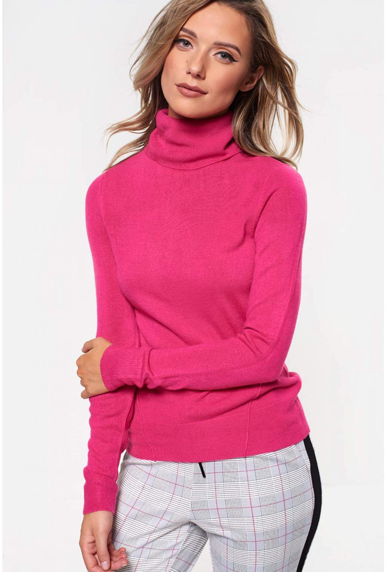 16f3b06805 Noisy May Check Rib Roll Neck Top in Pink