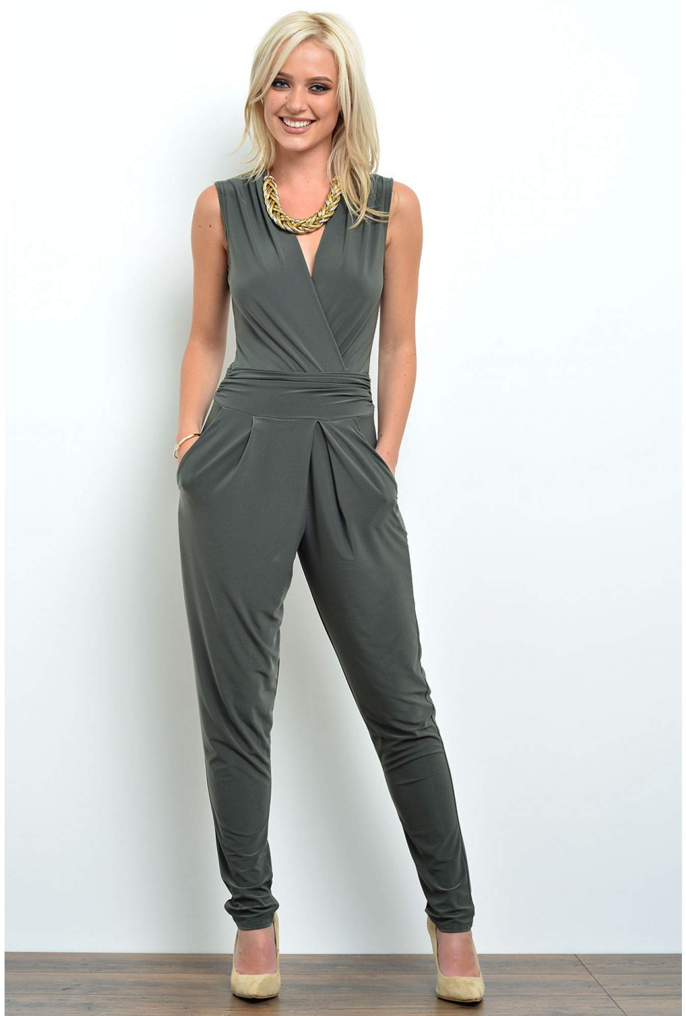 73c82c8087d More Views. Hayley Deep V Jumpsuit in Khaki. John Zack