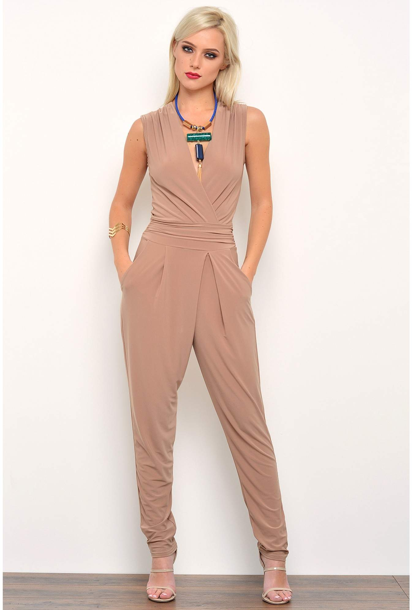 27eb688f970 More Views. Hayley Deep V Jumpsuit in Camel. John Zack