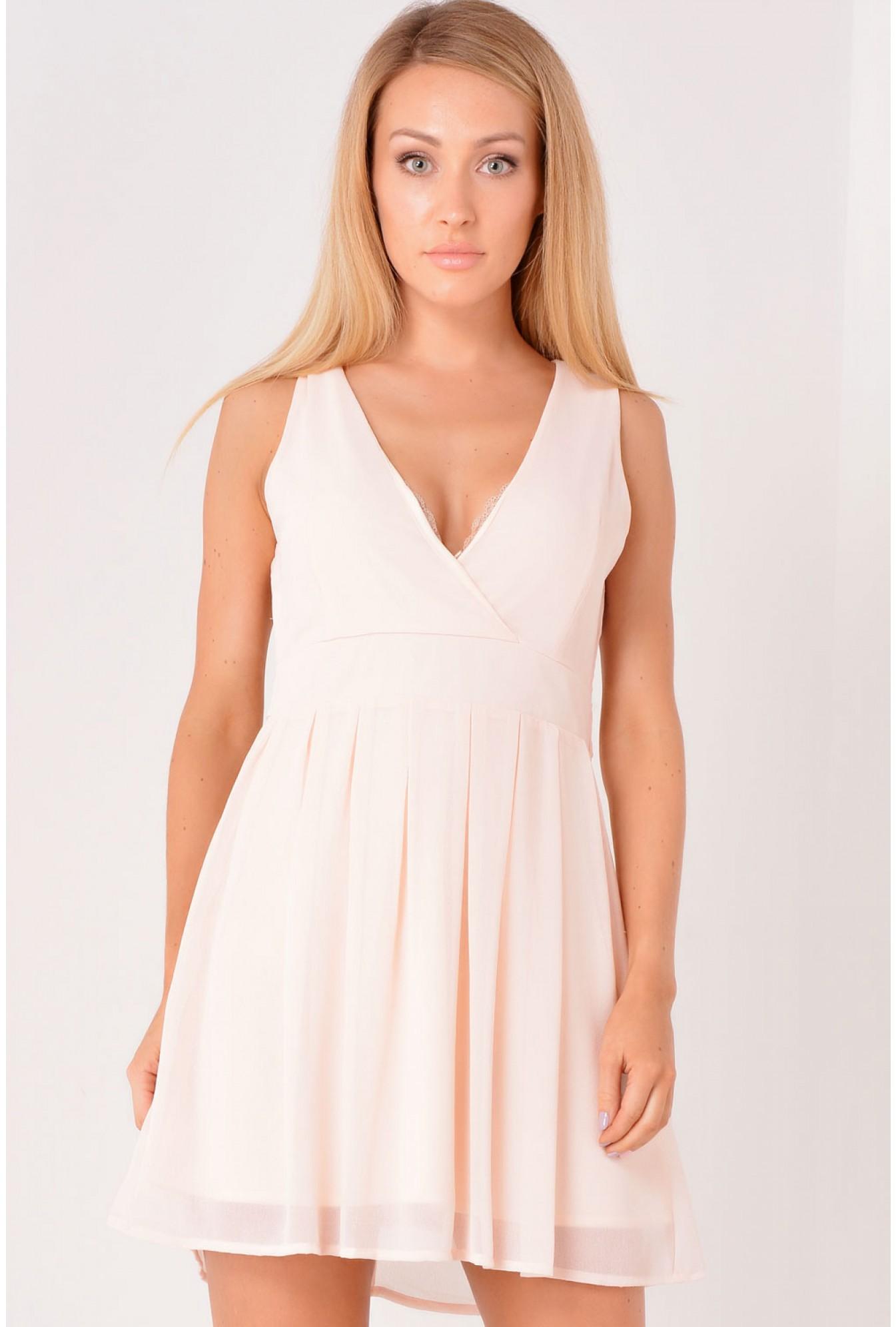 Pink Fiona Chiffon Skater Dress in Light Pink  cc8e81883