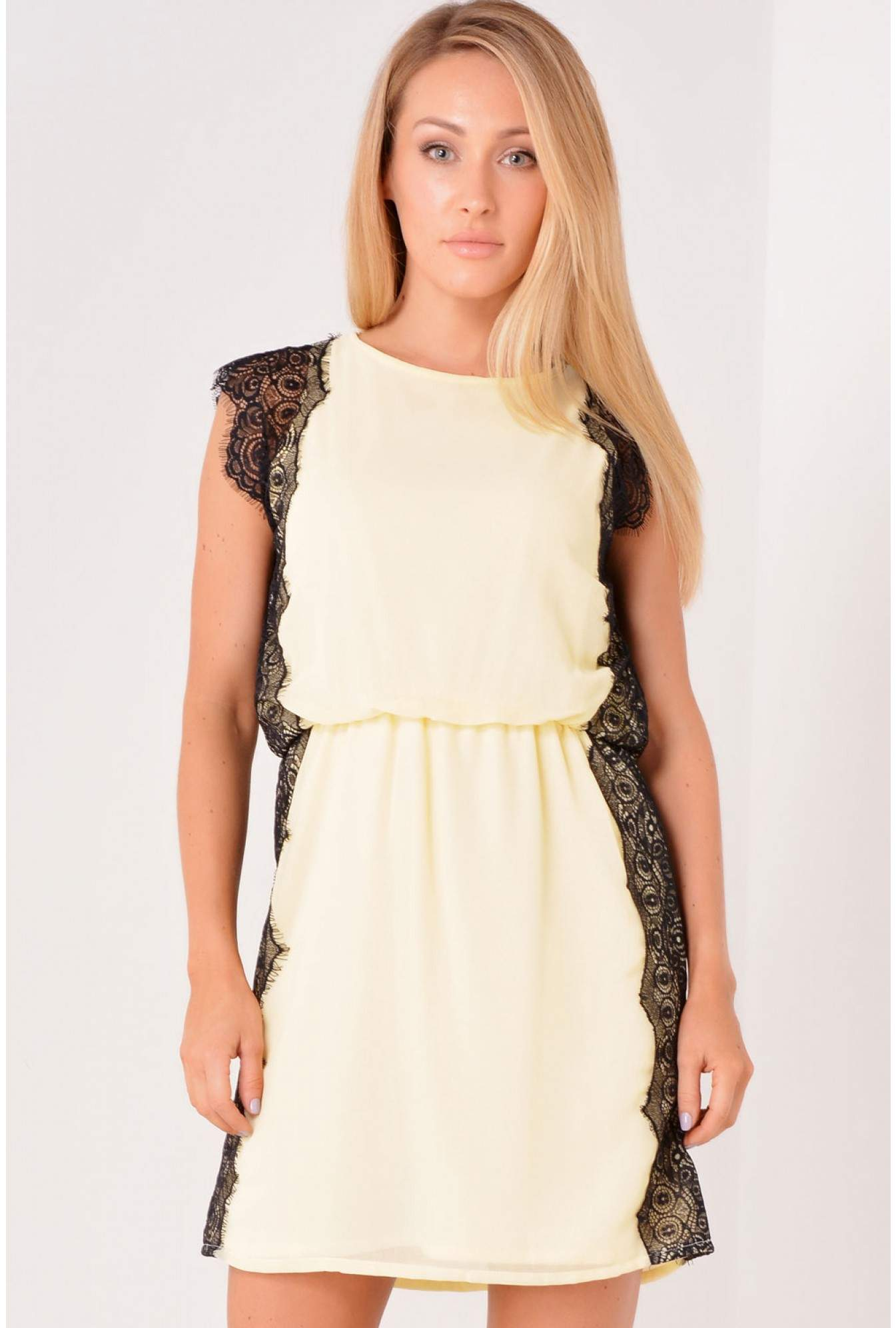 Kennedy Lace Edge Dress In Lemon