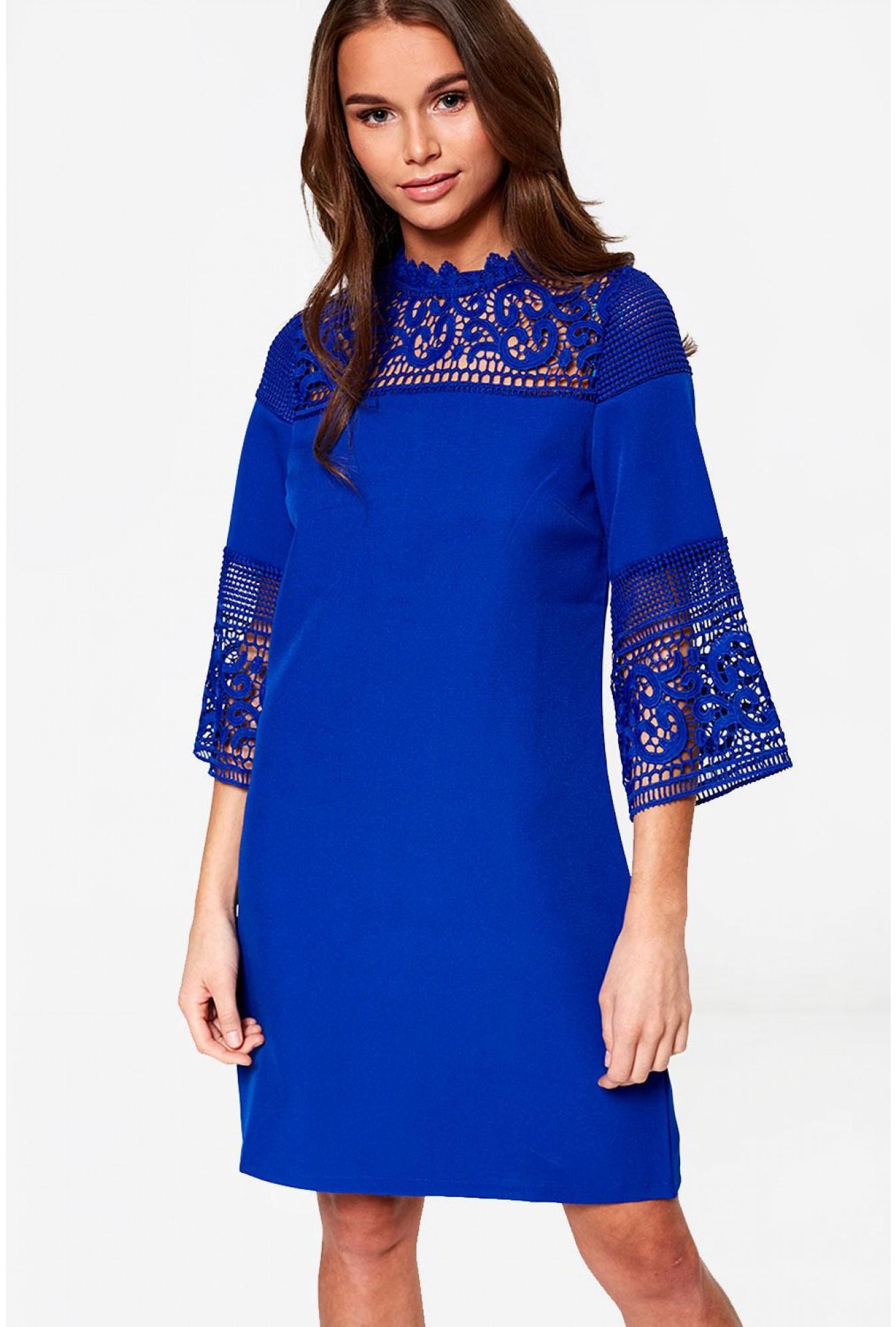 2b71ca87e341e1 Marc Angelo Joyce 3/4 Sleeve Lace Dress in Royal Blue | iCLOTHING