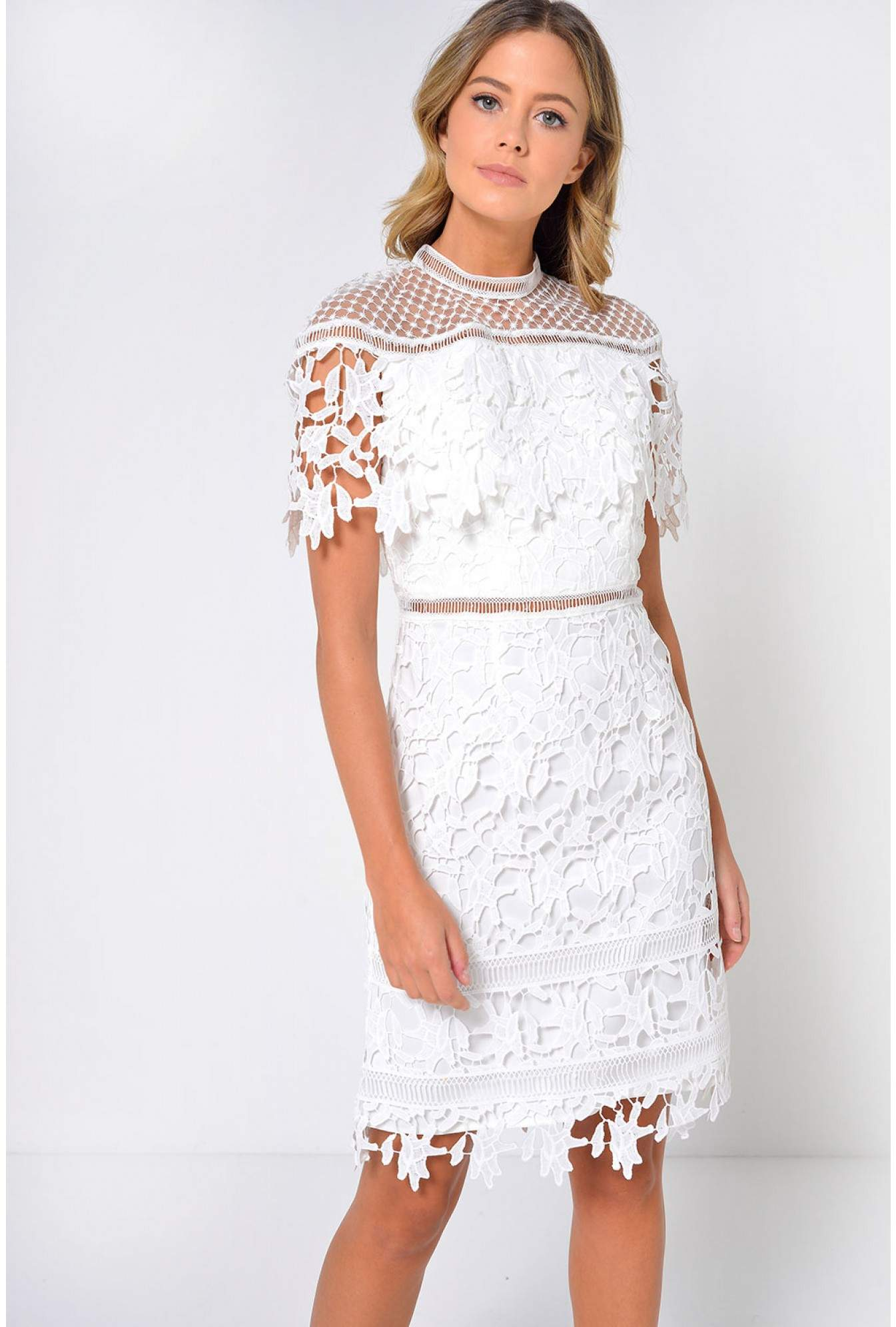 Chi Chi Rebeka Crochet Dress In White Iclothing
