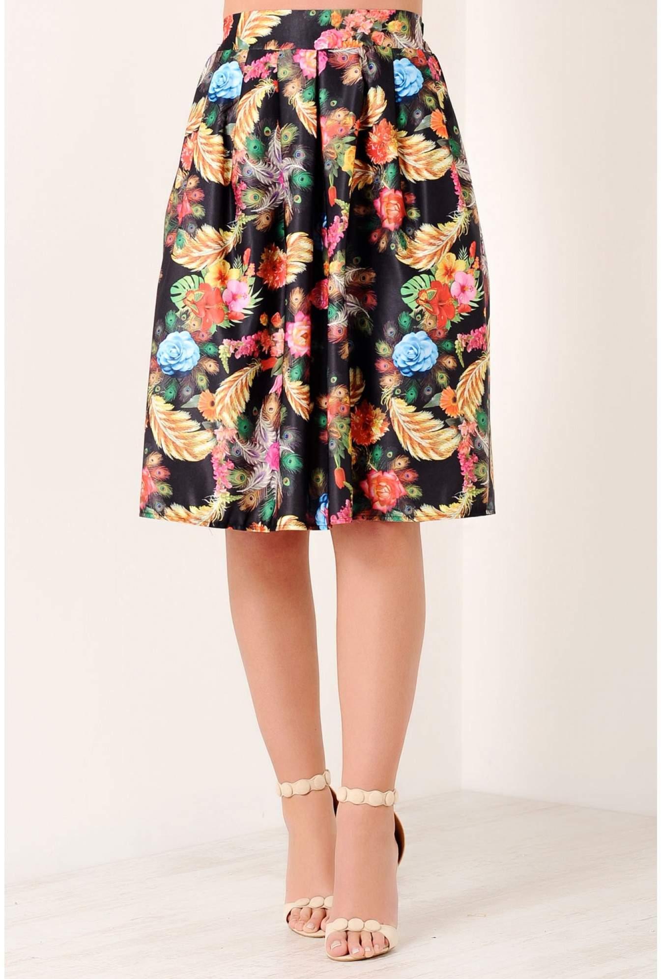 a3a74889bd1 Shikha Talia Peacock Feather Print Skirt in Multi Black