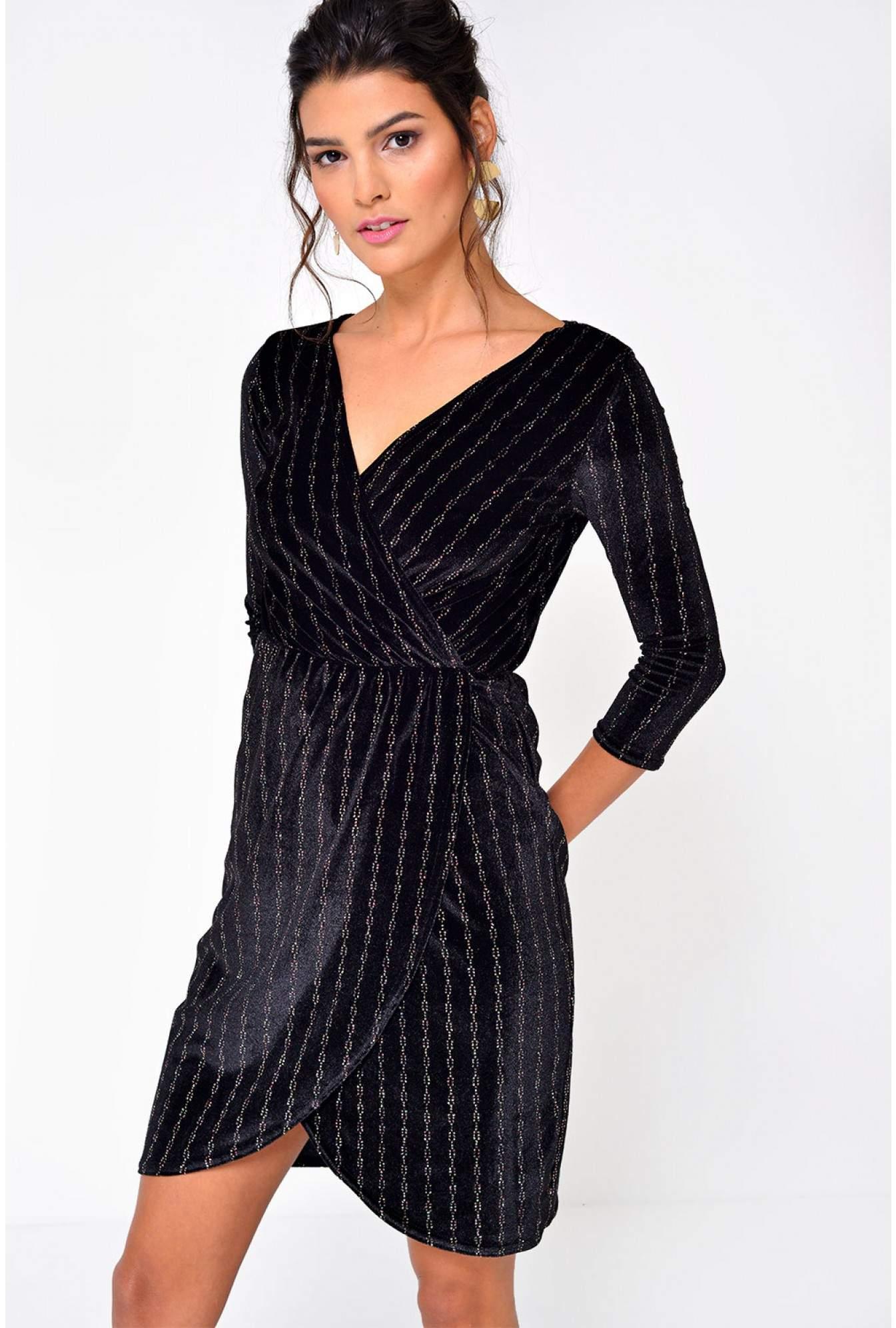 85f784a171c More Views. Lottie Sparkle Velvet Wrap Dress ...