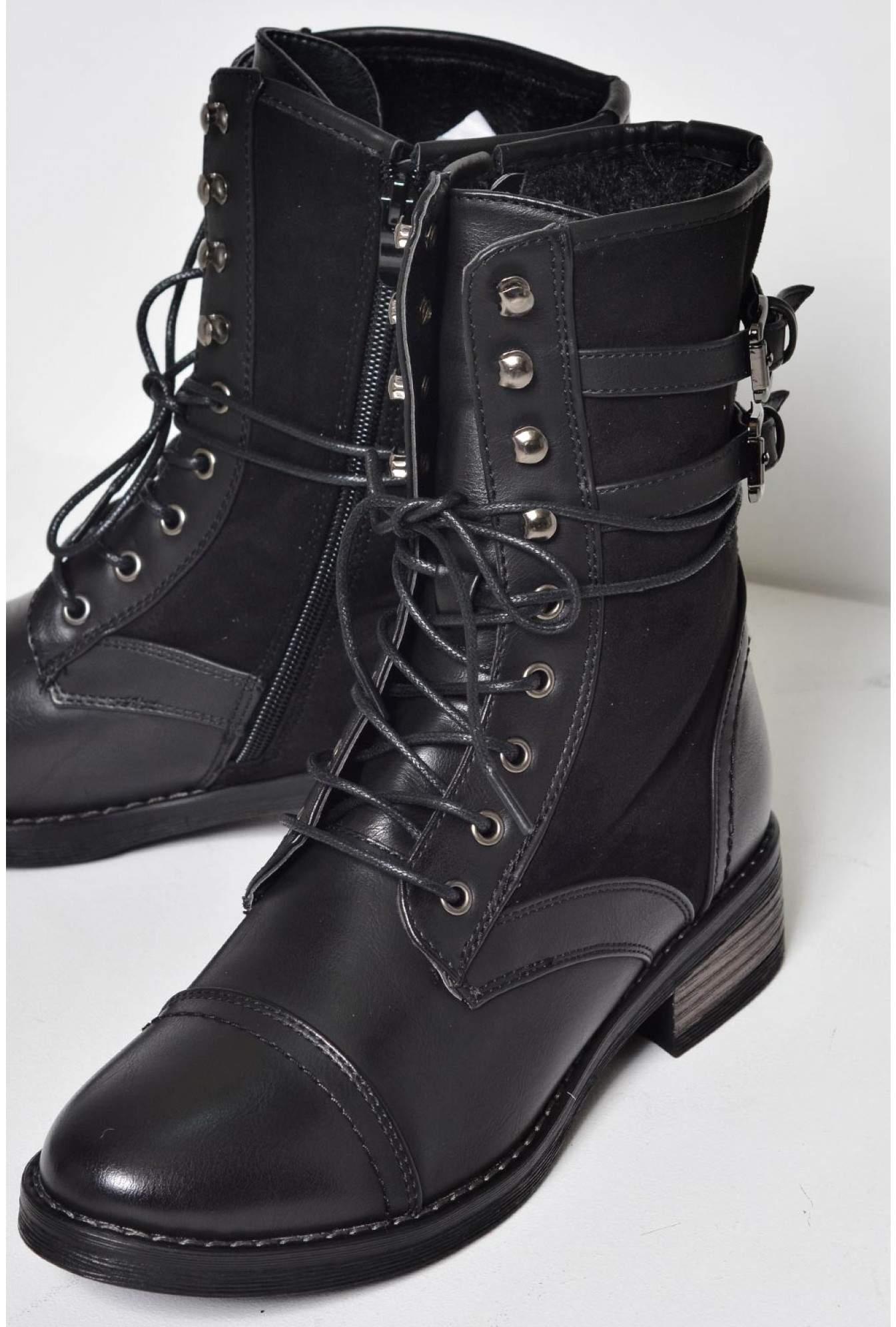 d536c946331 Kat Lace Up Buckle Boots in Black
