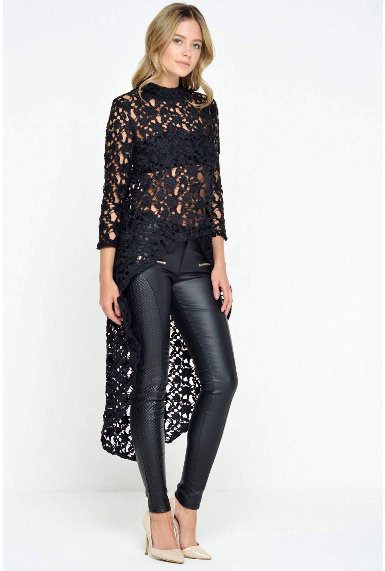 f714c2244e674 Paris Amelia Dipped Hem Crochet Top in Black | iCLOTHING