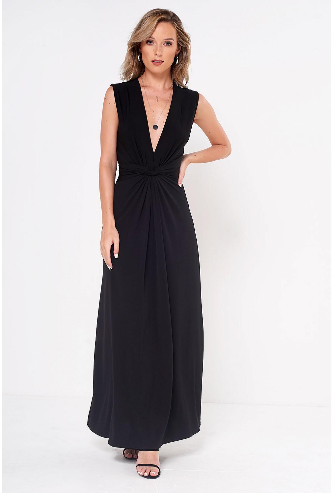 486051bc44 More Views. Poppy Knot Waist Maxi Dress in Black