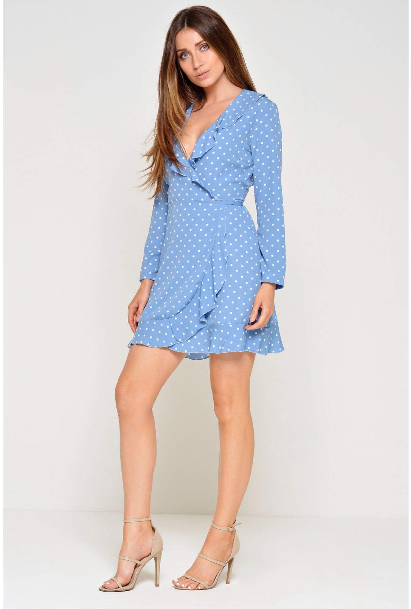 66330b4963c3 More Views. Kate Frill Wrap Dress in Blue Polka Dot. John Zack