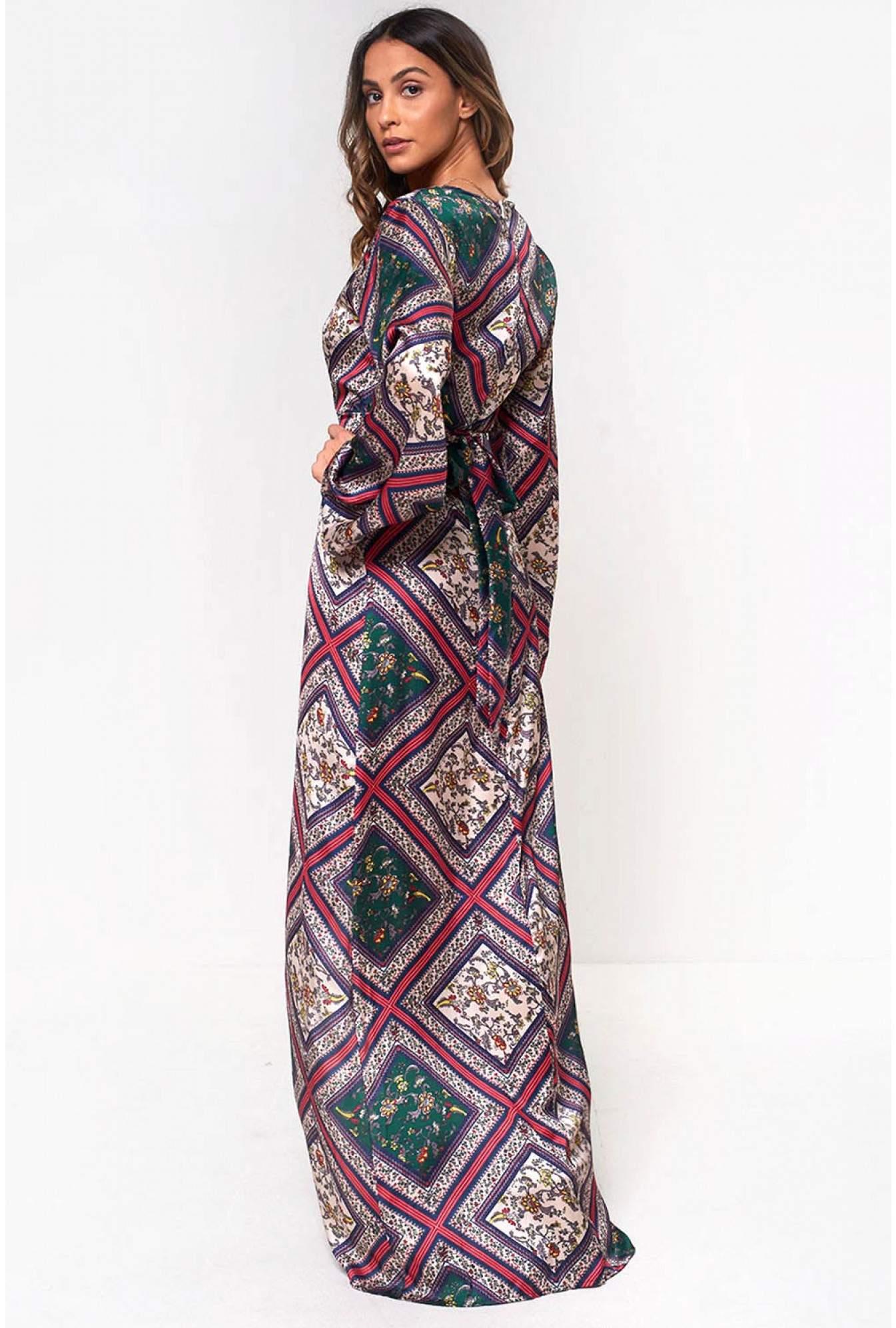 5b7a2062da Shikha Lila Printed Satin Maxi Dress   iCLOTHING
