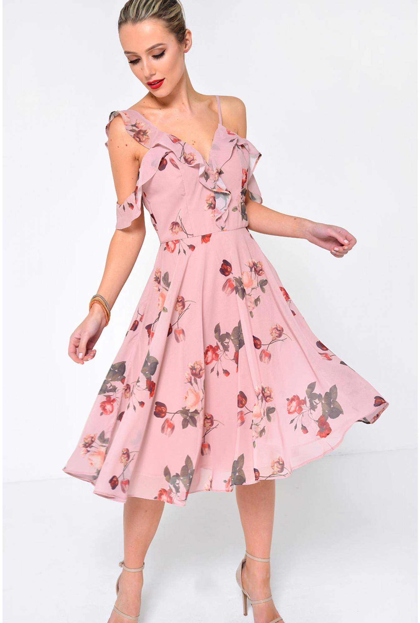 More Views. Leasha Floral Midi Dress in Dusty Pink 66a029c5f