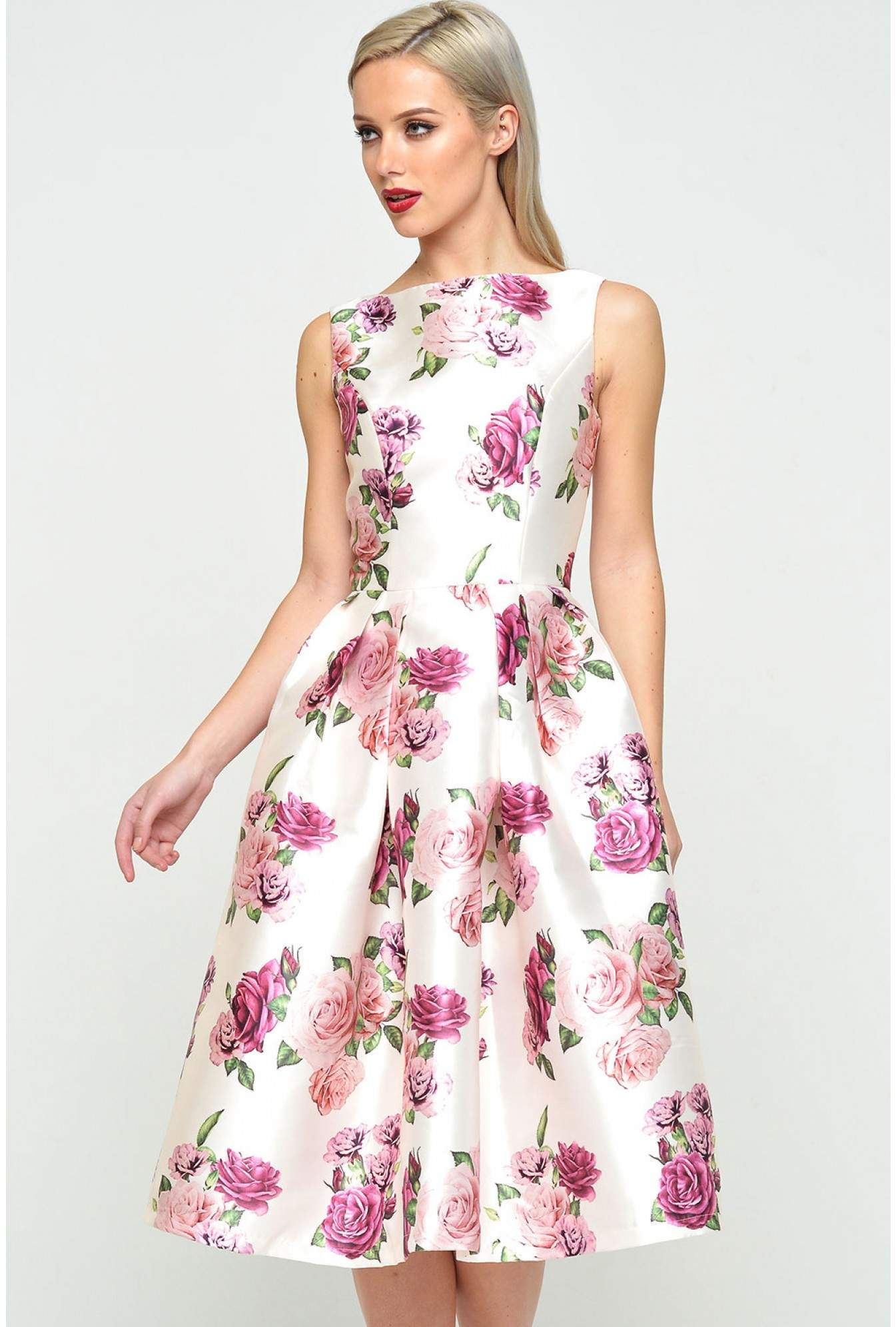 More Views. Izi Satin Floral Skater Dress b23676274