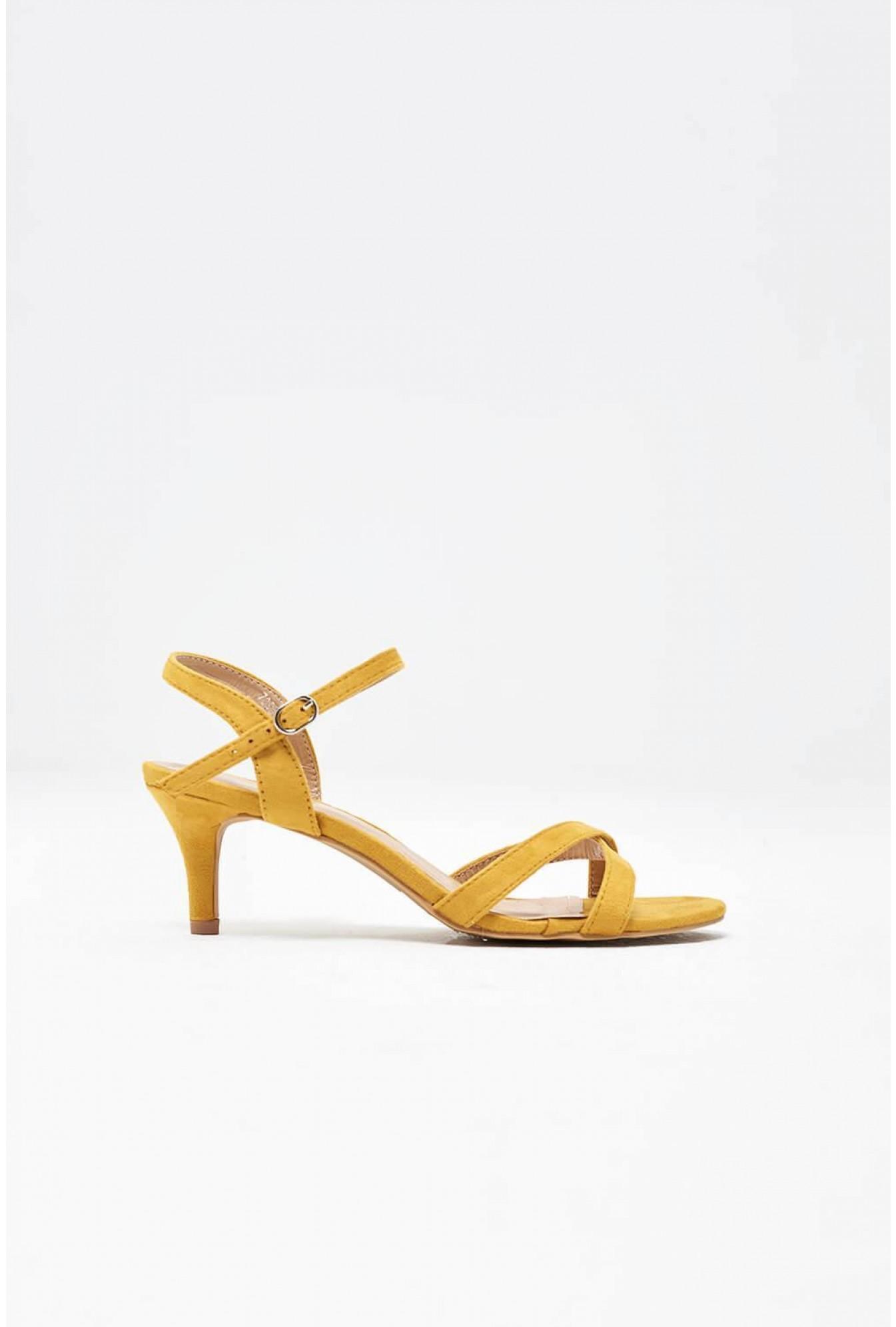No Doubt Kitten Heel Sandals in Yellow
