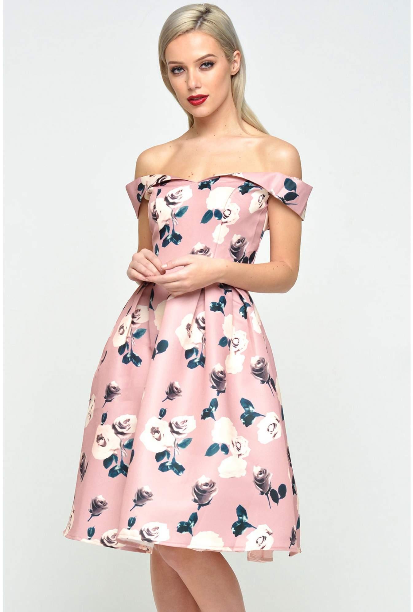 d3445389f90 Chi Chi Audrina Bardot Rose Print Dress in Pink