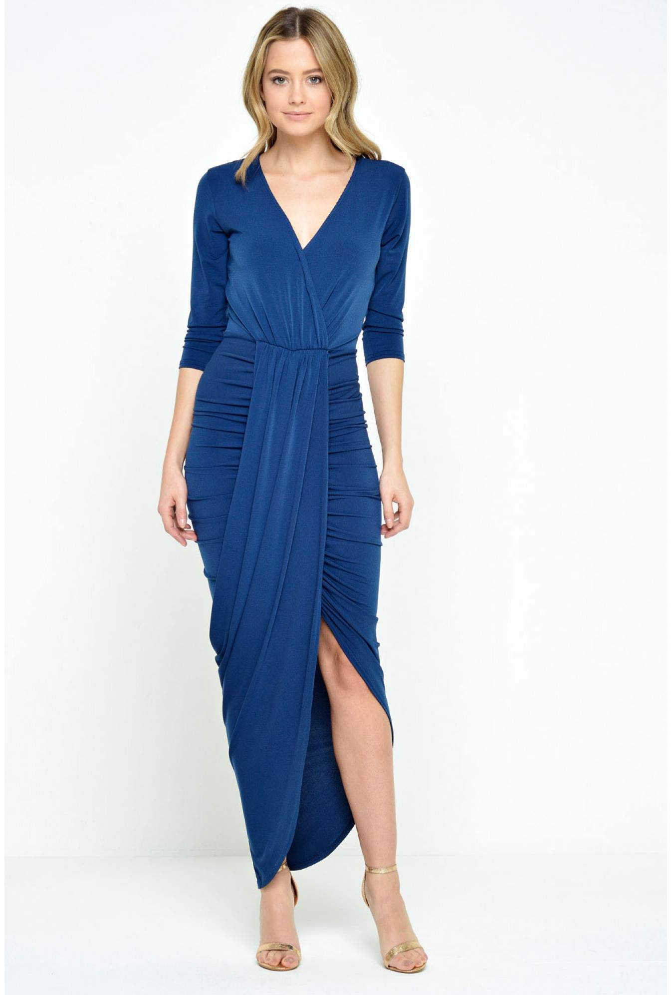 730cb276a59 John Zack Khloe Drape Front Midi Dress in Navy