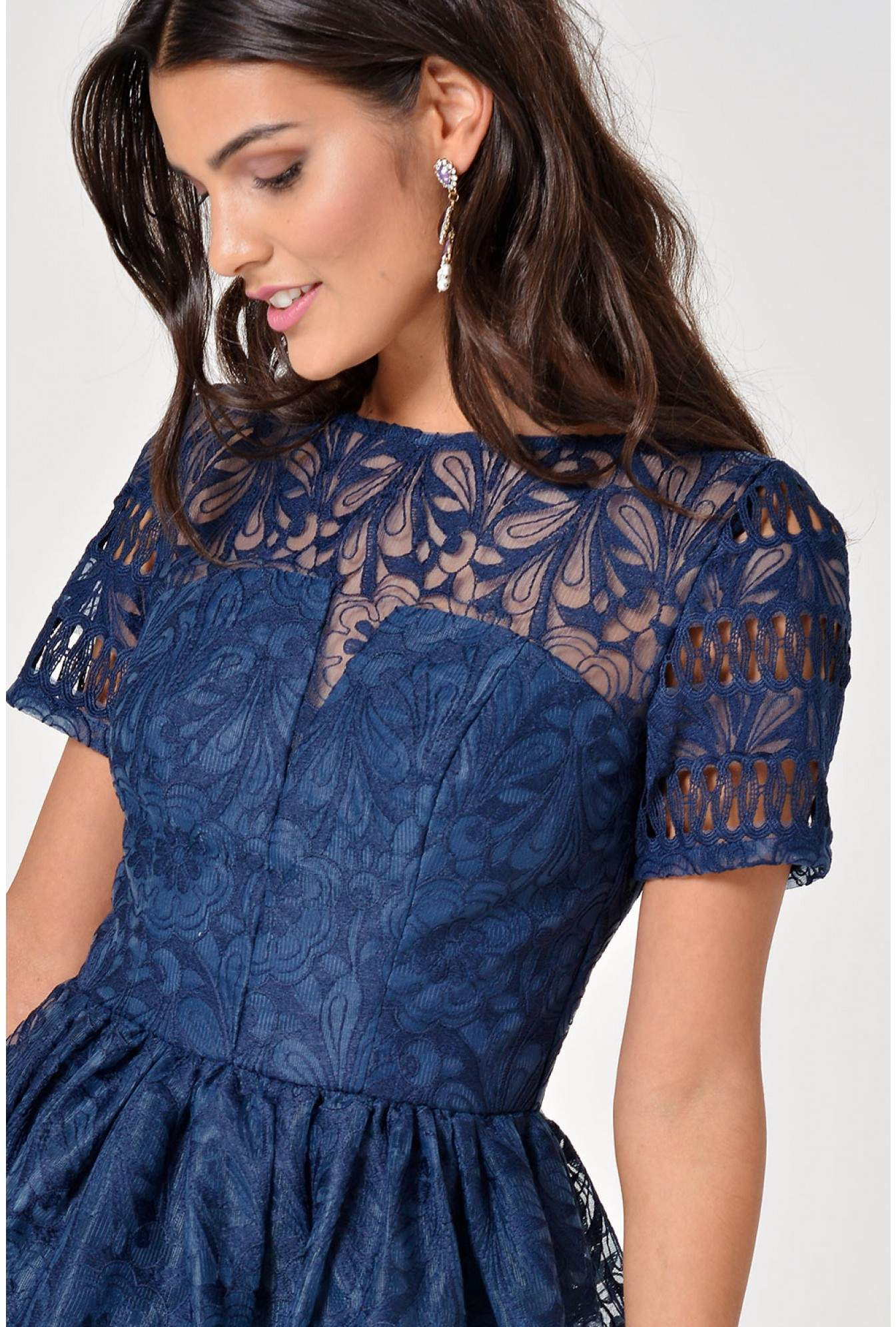59862320325 More Views. Sheridan Lace Dress in Navy