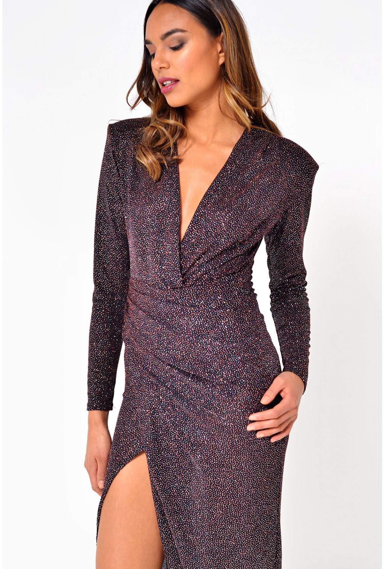 4d09250c54 John Zack Kim Deep V Midi Dress in Multi Glitter