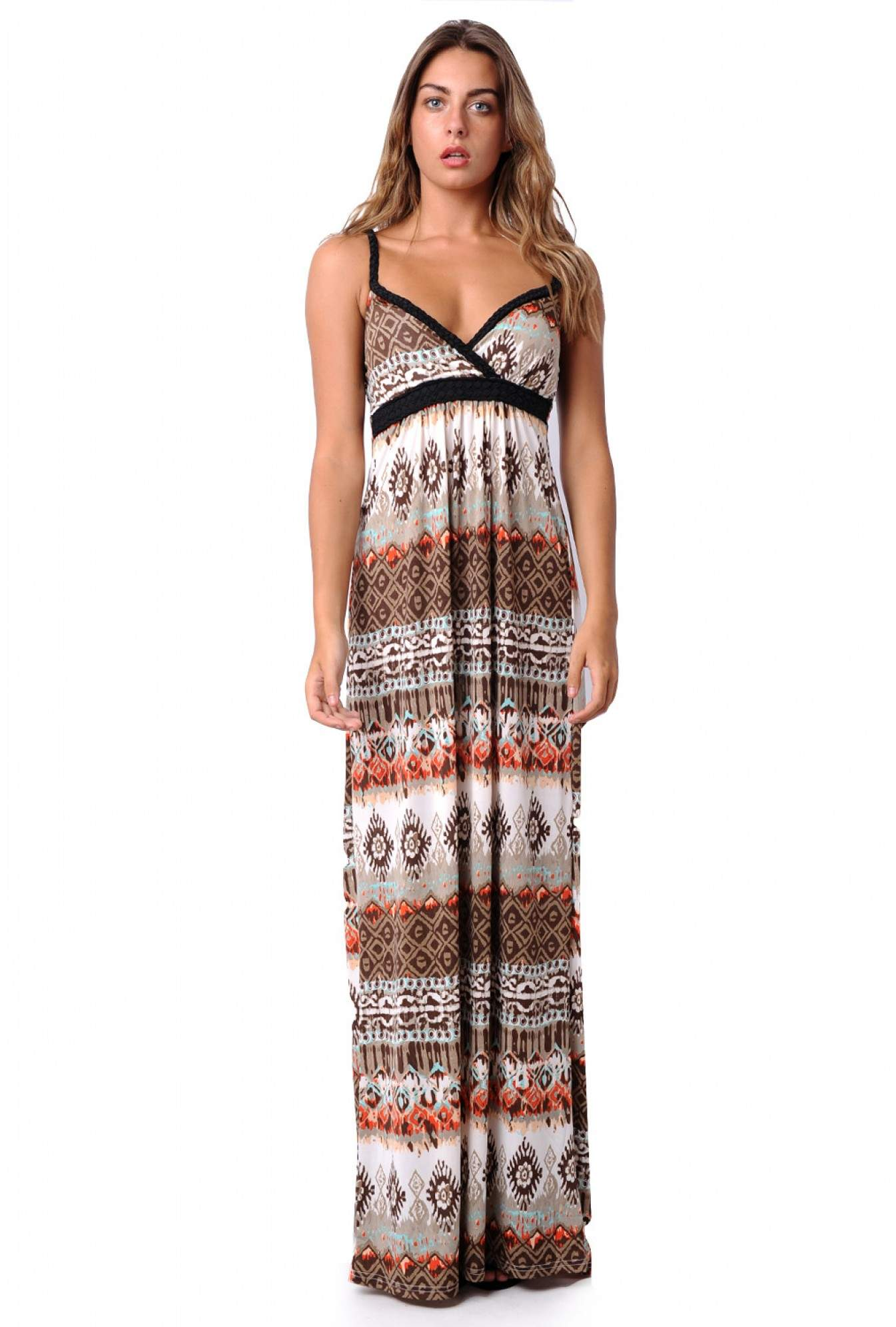 df25f19a745b More Views. Betsy Twisted Strap Tribal Maxi Dress in Coffee