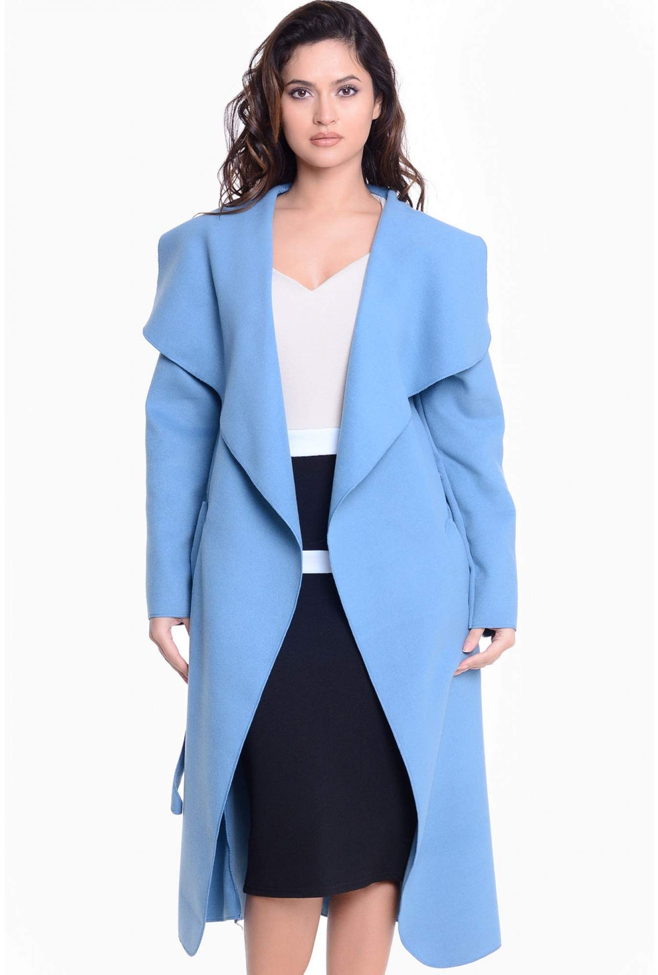 fast delivery sale well known Faith Belted Wrap Coat in Powder Blue