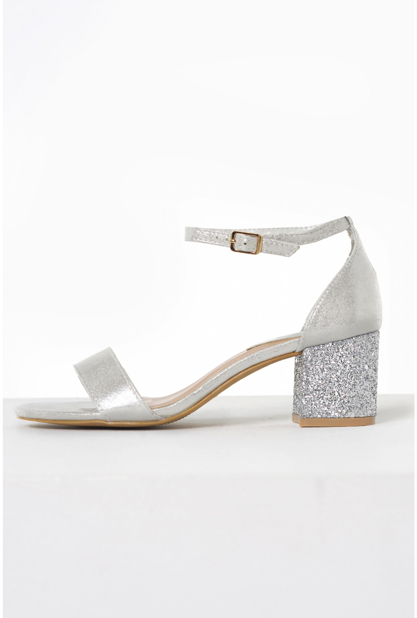 f1907d9607aa More Views. Lance Sparkle Block Heeled Sandals in Silver