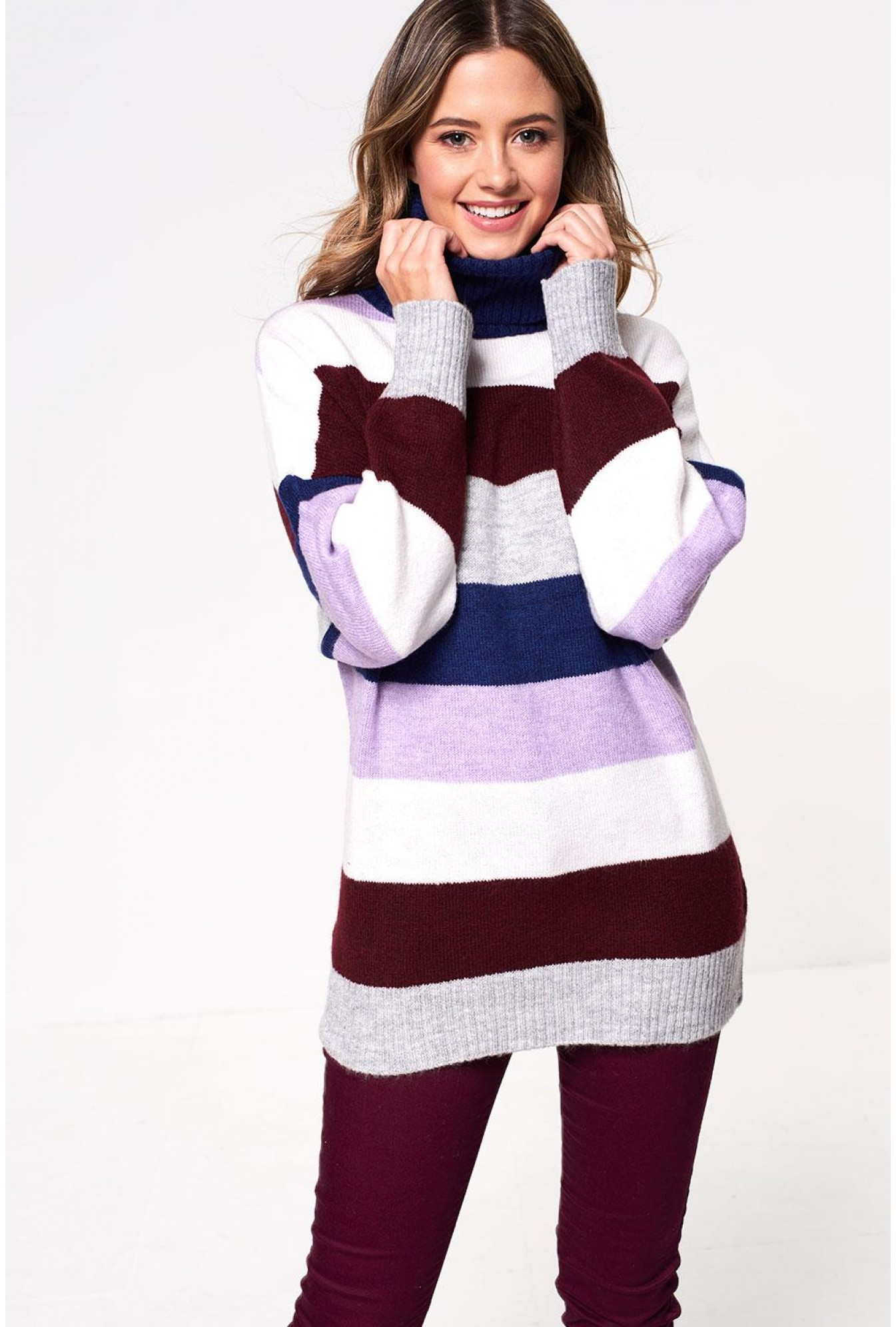 b480f14d053 Monica Roll Neck Knit Jumper in Stripe