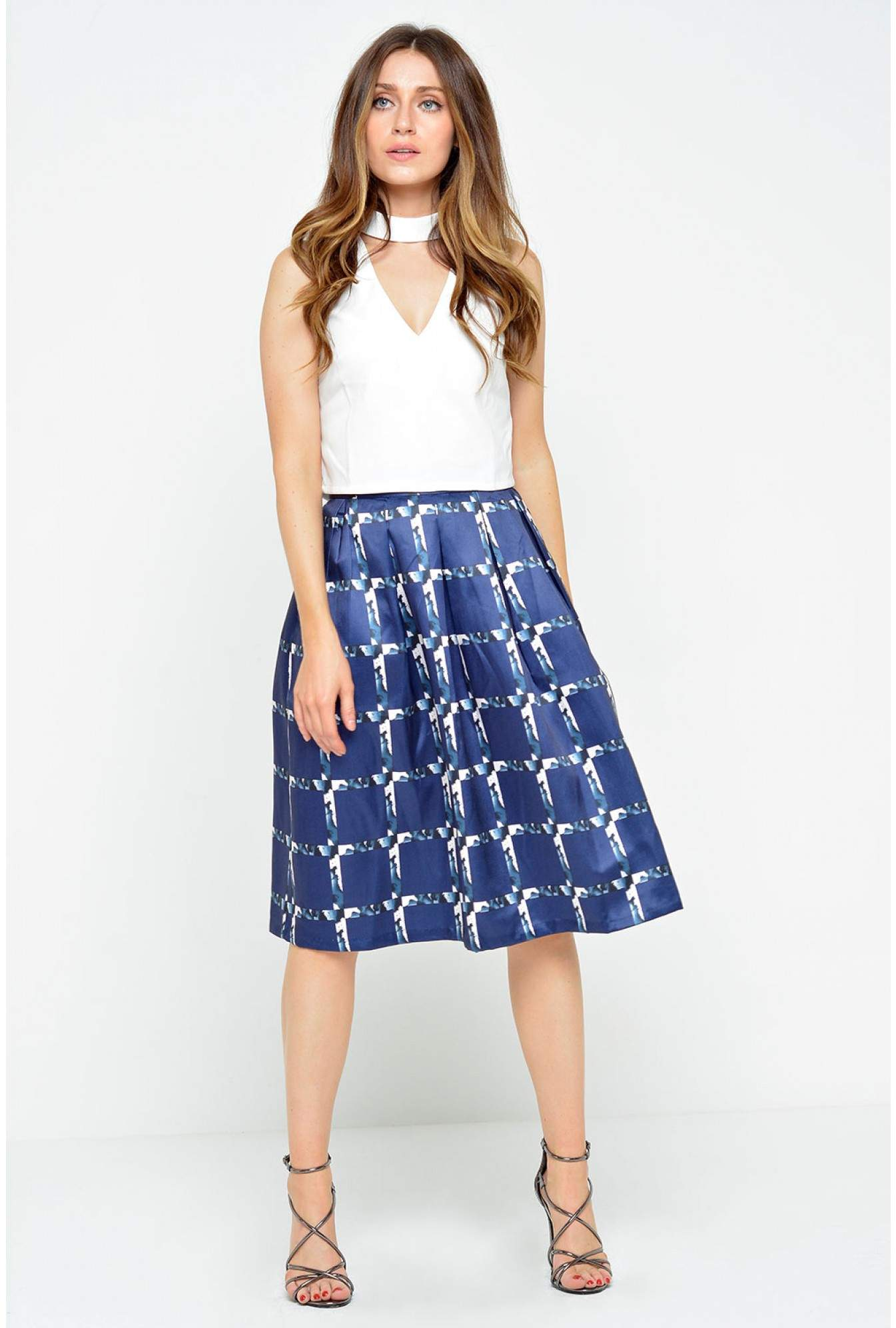 0b27d1e75f J&J Tonya Check Pleated Skirt | iCLOTHING