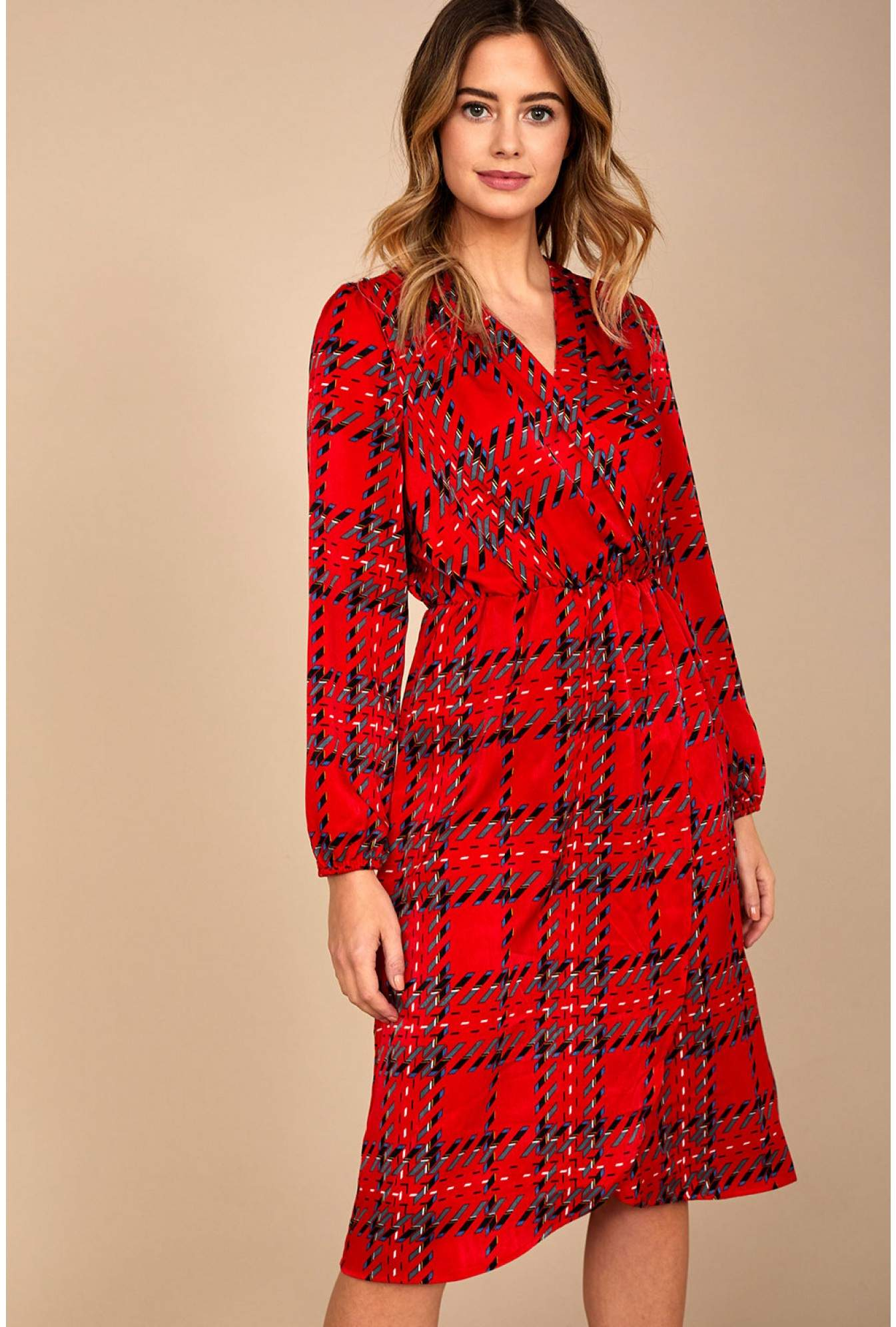 52484909 Marc Angelo Olympia Abstract Print Midi Dress in Red | iCLOTHING