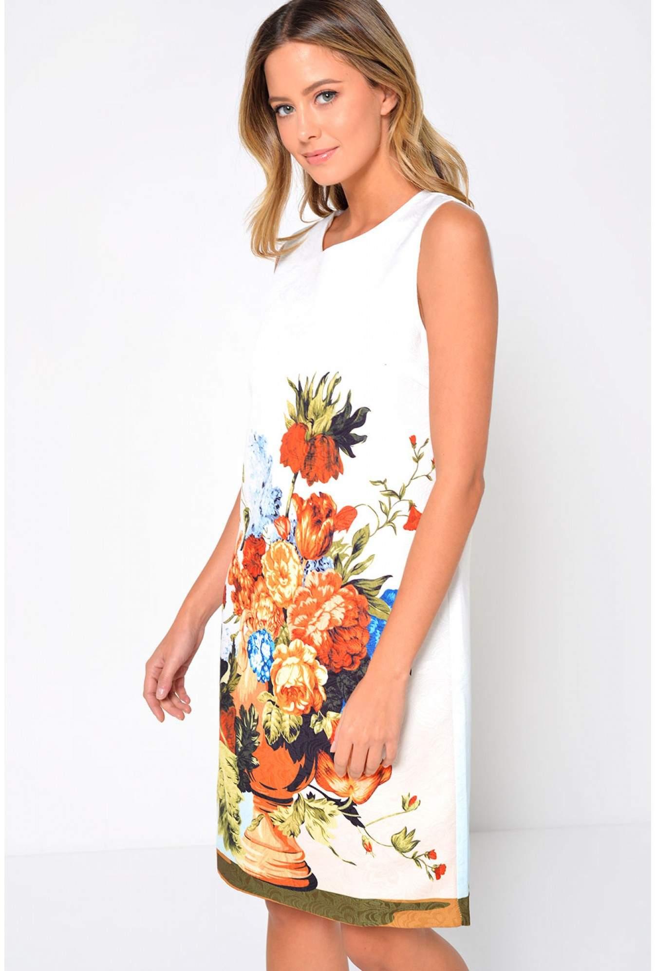 7f08da6ef24 More Views. Rhodes Sleeveless Shift Dress in Floral Print