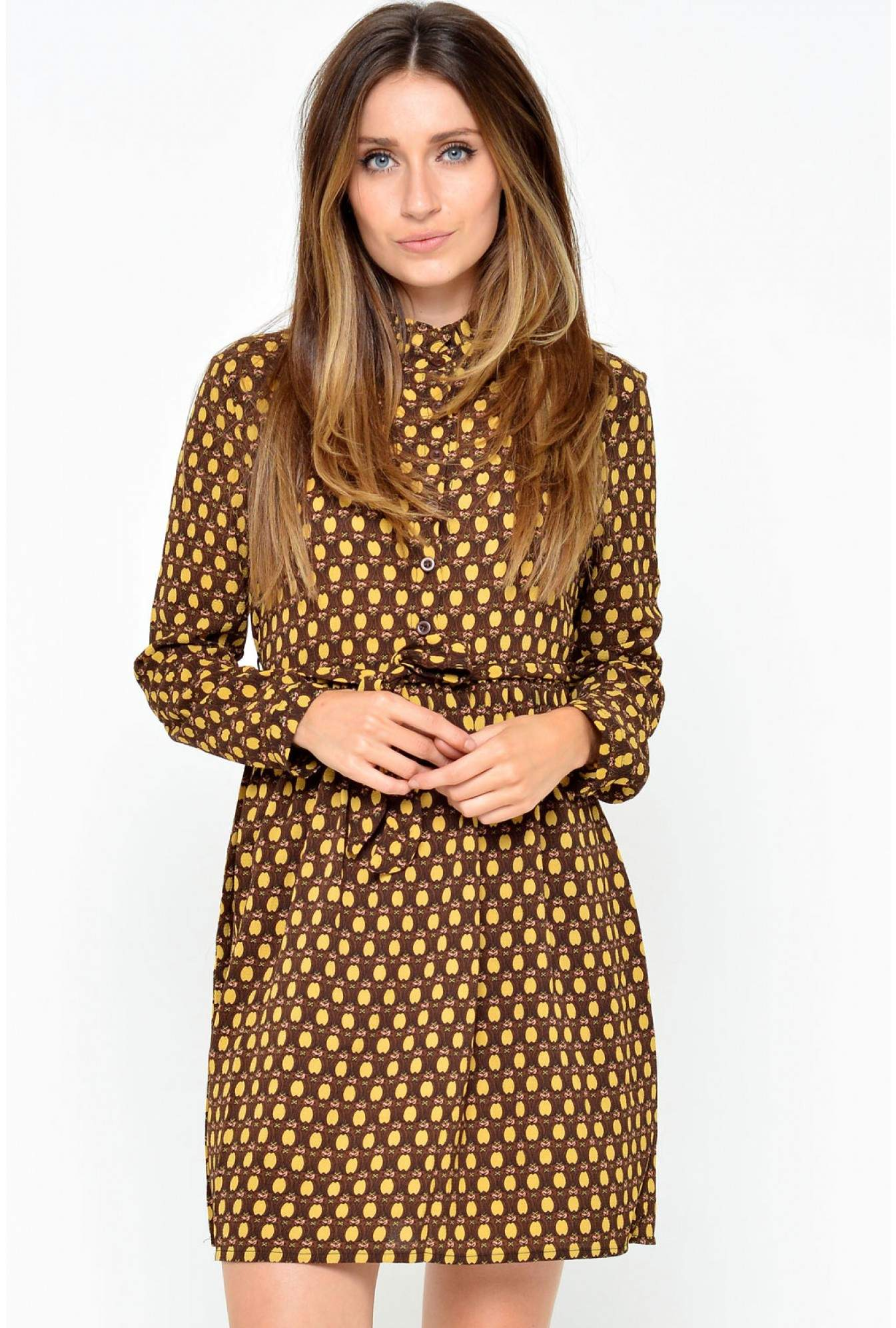 047cc41bb54 Ada Gatti Zara High Neck Printed Dress in Mustard