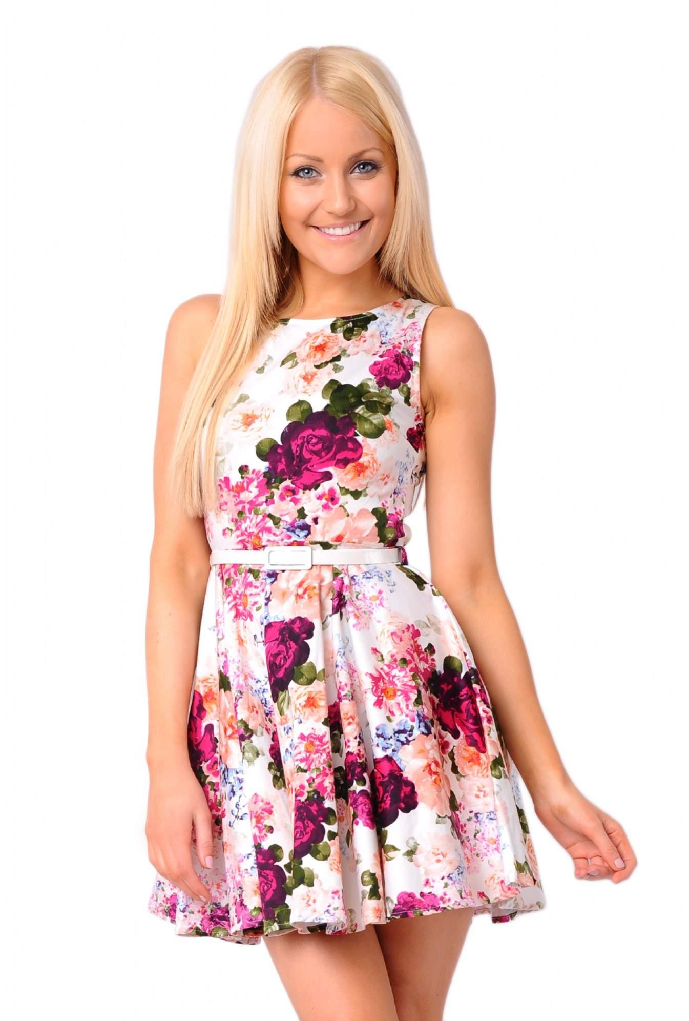 b4bed1bd269db6 More Views. Celine Floral Belted Skater Dress