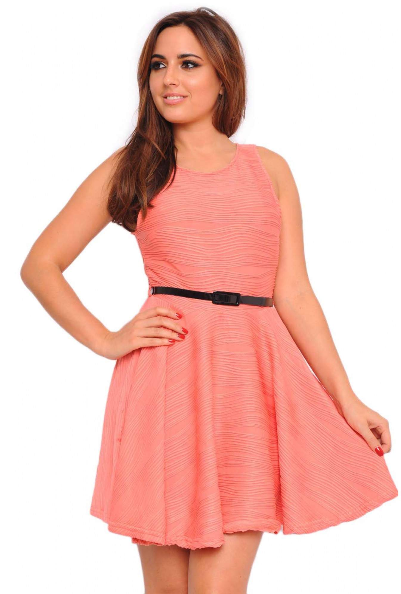 931efd060bfa More Views. Aoife Ripple Skater Belted Dress in Coral. AX Paris