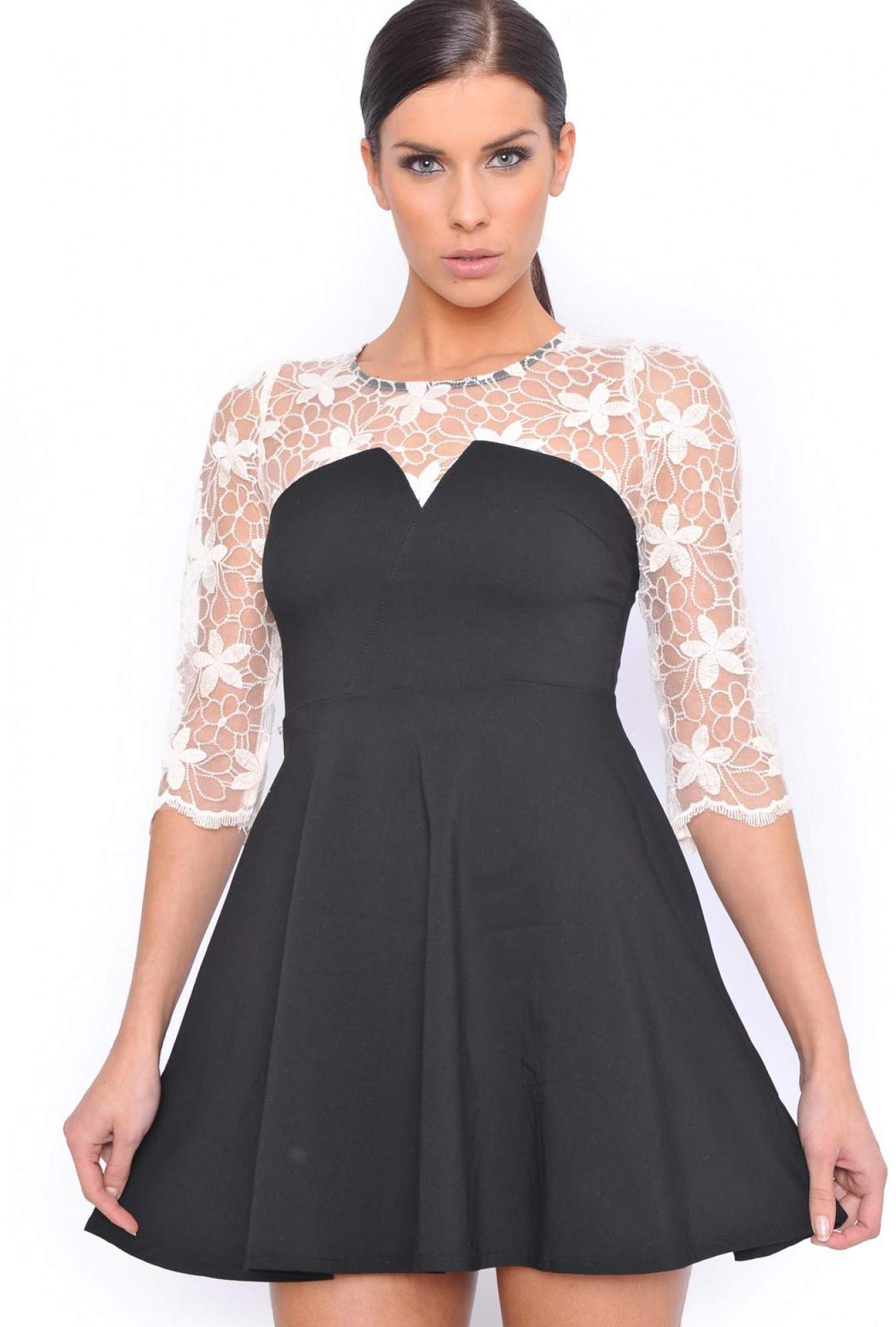 51eaef28abdc More Views. Donna Lace Top Skater Dress in Black