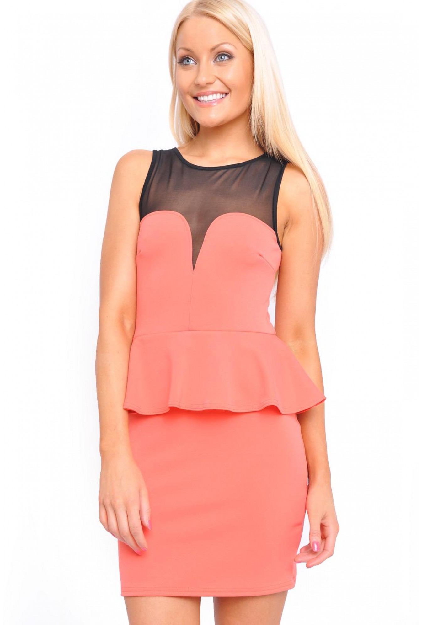 b2b14d7aedf More Views. Becky Mesh Sweetheart Peplum Dress in Coral