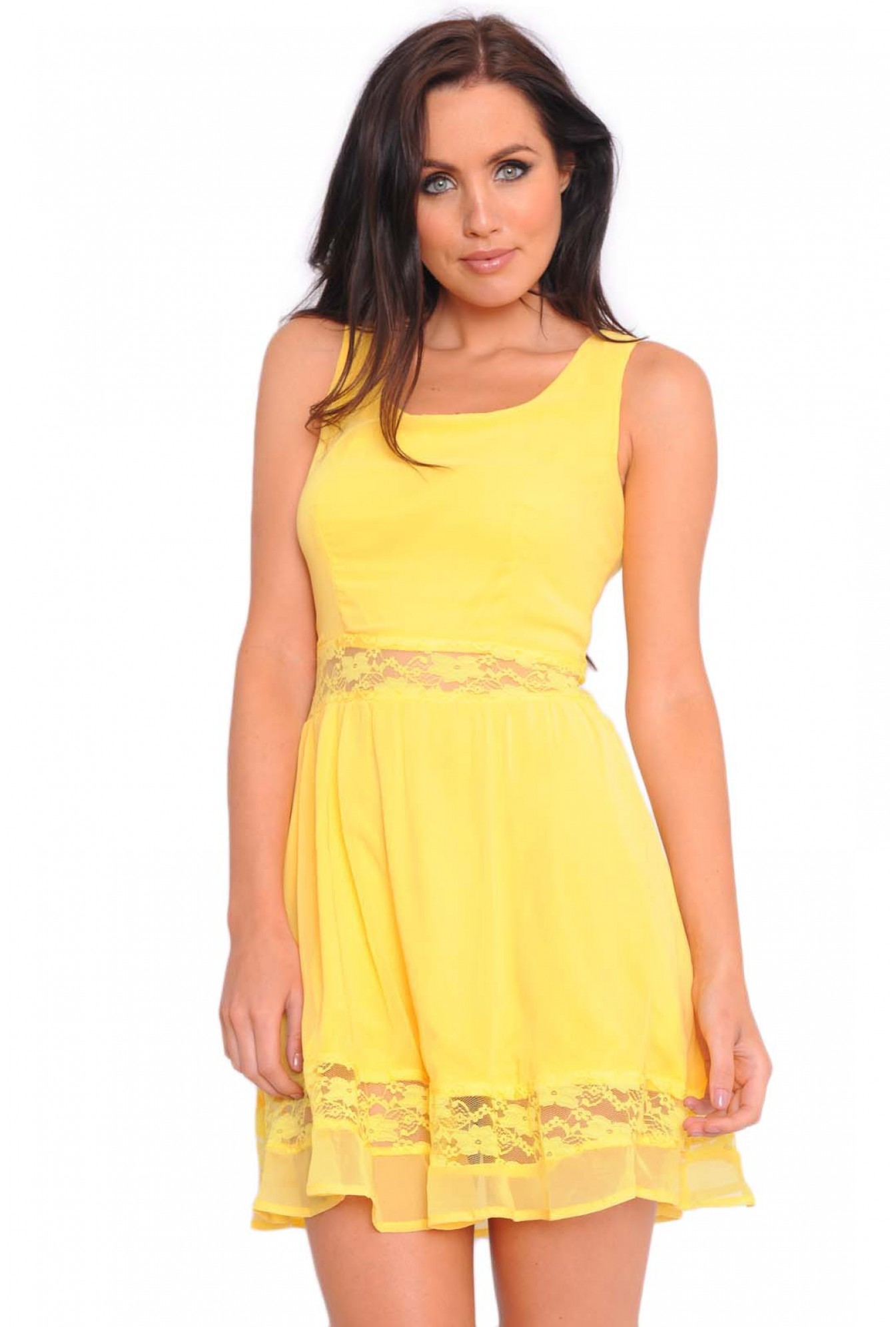 4ad273b880 AX Paris Lina Chiffon Lace Cut Out Skater Dress in Yellow